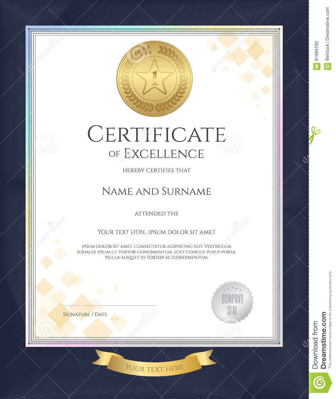 Elegant portrait certificate template for excellence achievement royalty free vector download elegant portrait certificate template xflitez Gallery