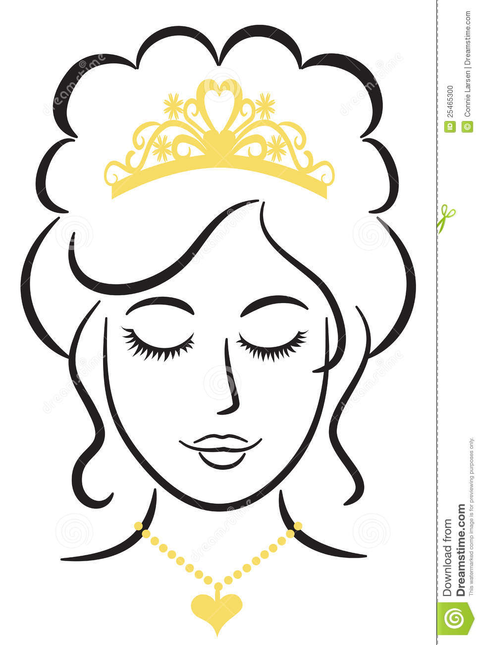 Elegant Swash Line Drawing Of A Princess Or Queen With Crown