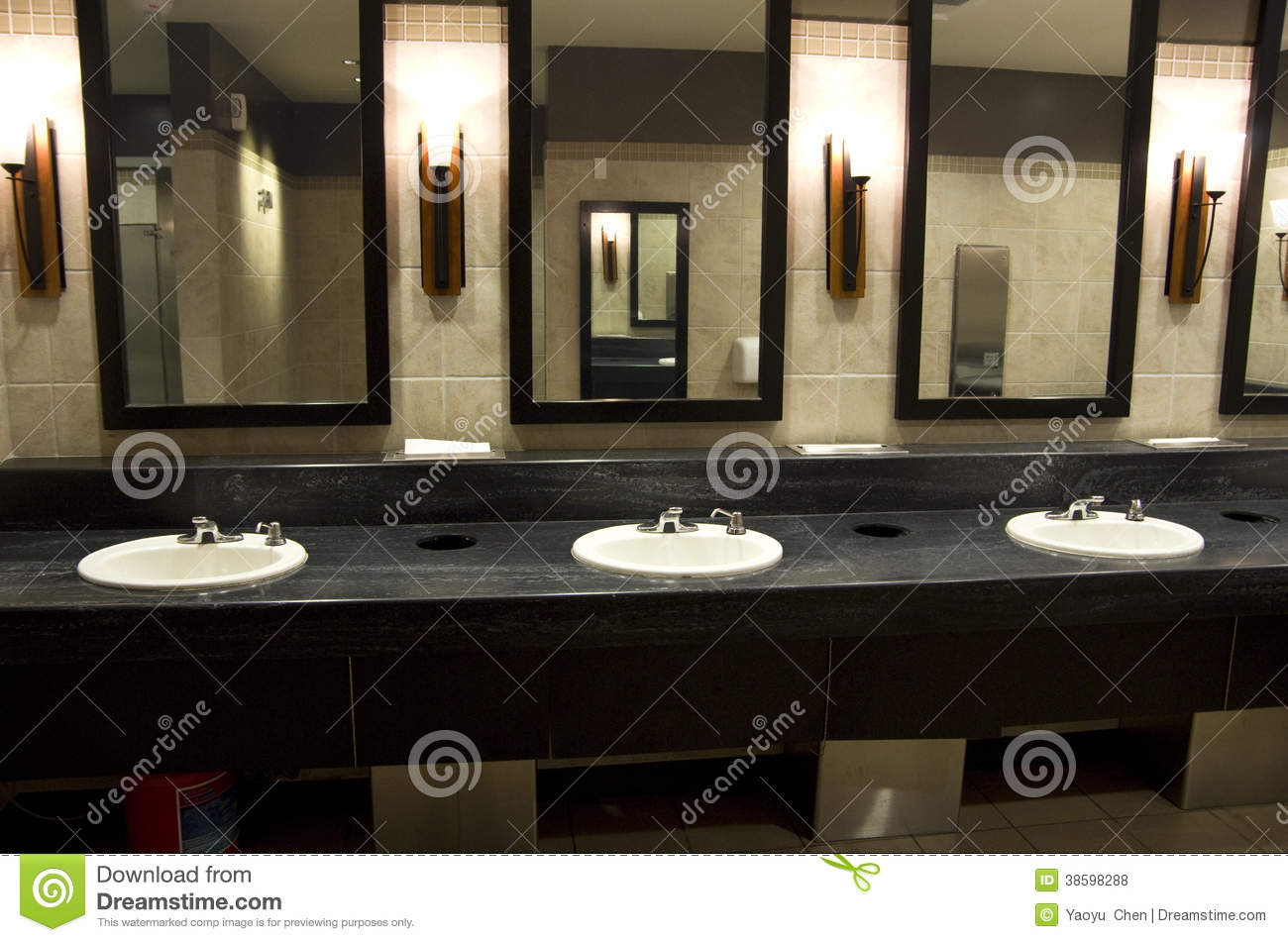 Elegant Public Bathroom Stock Photo Image Of Lighting