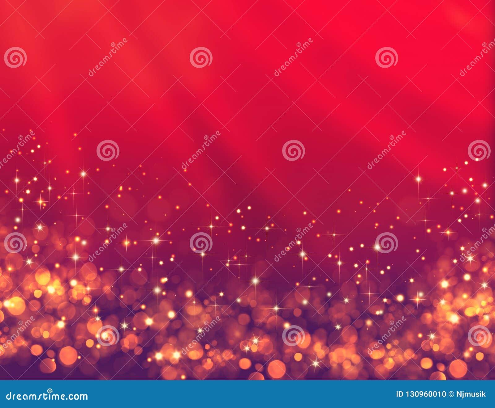 Elegant röd festlig bakgrund med guld- blänker och stjärnor