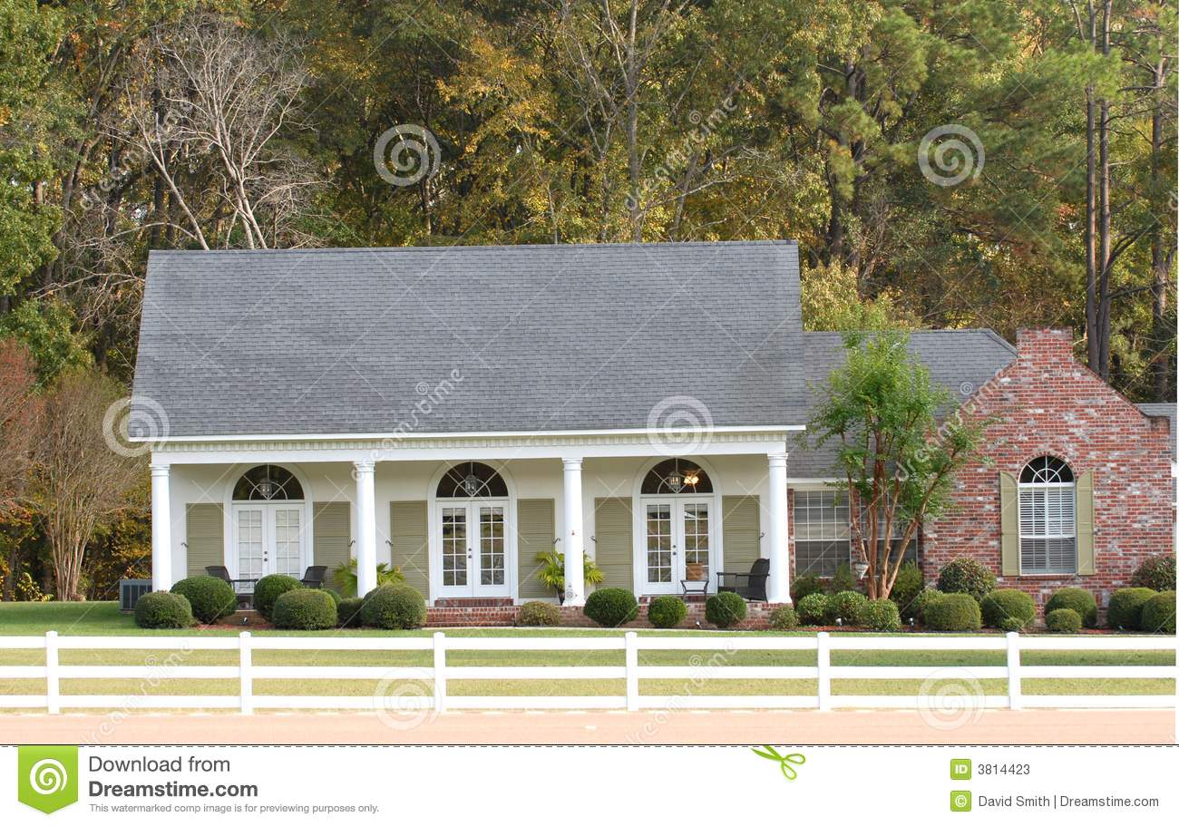 Elegant ranch style home in a country setting stock photos for Elegant country homes