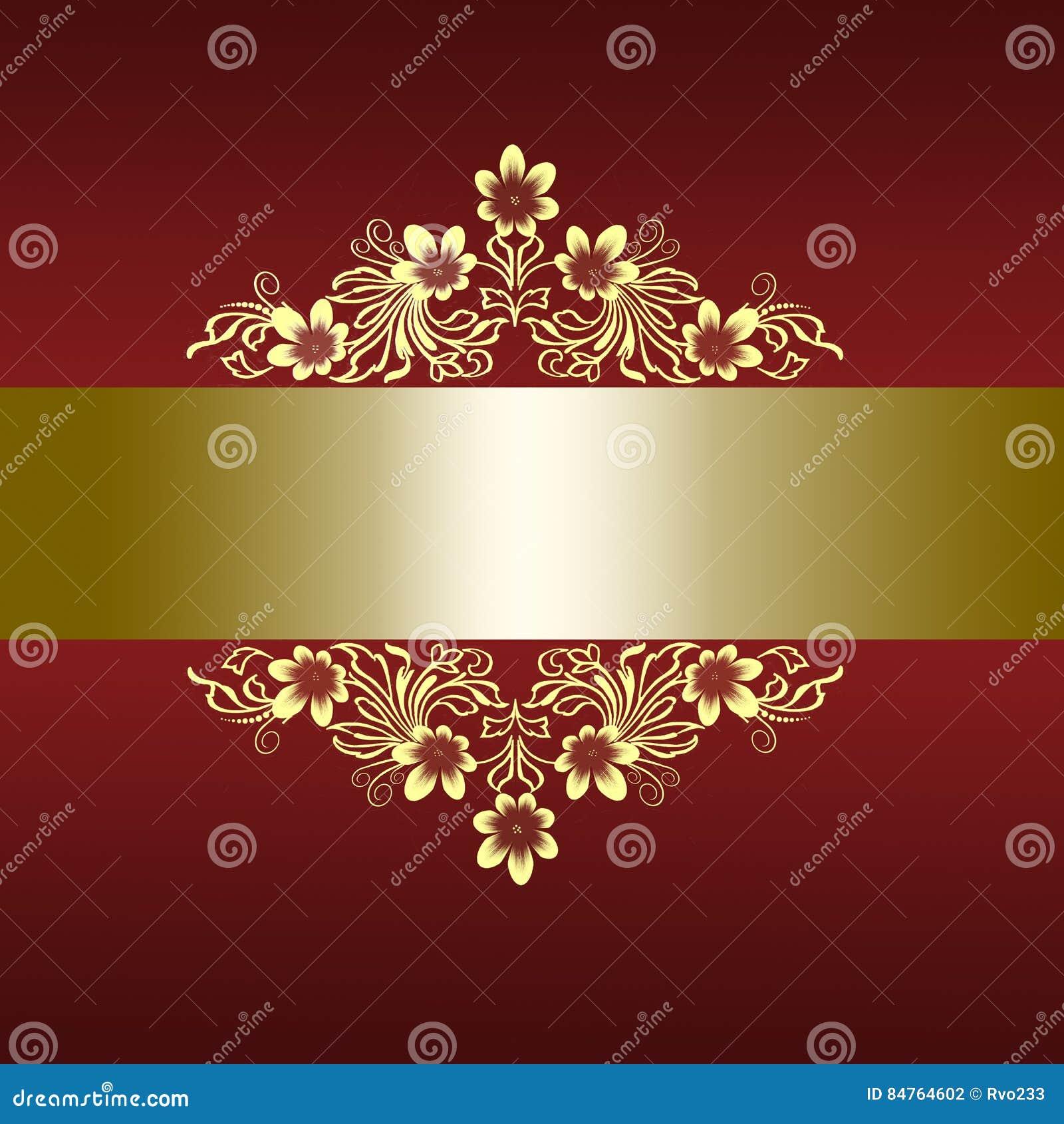 Elegant Red Border With Golden Floral Ornament Stock Illustration ...