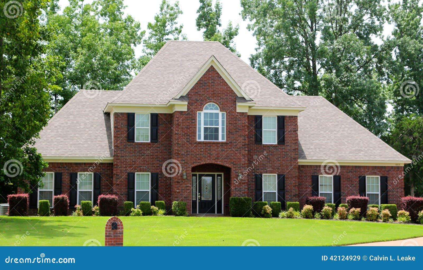 Elegant Red Brick Middle Class Suburban Home Stock Photo ...