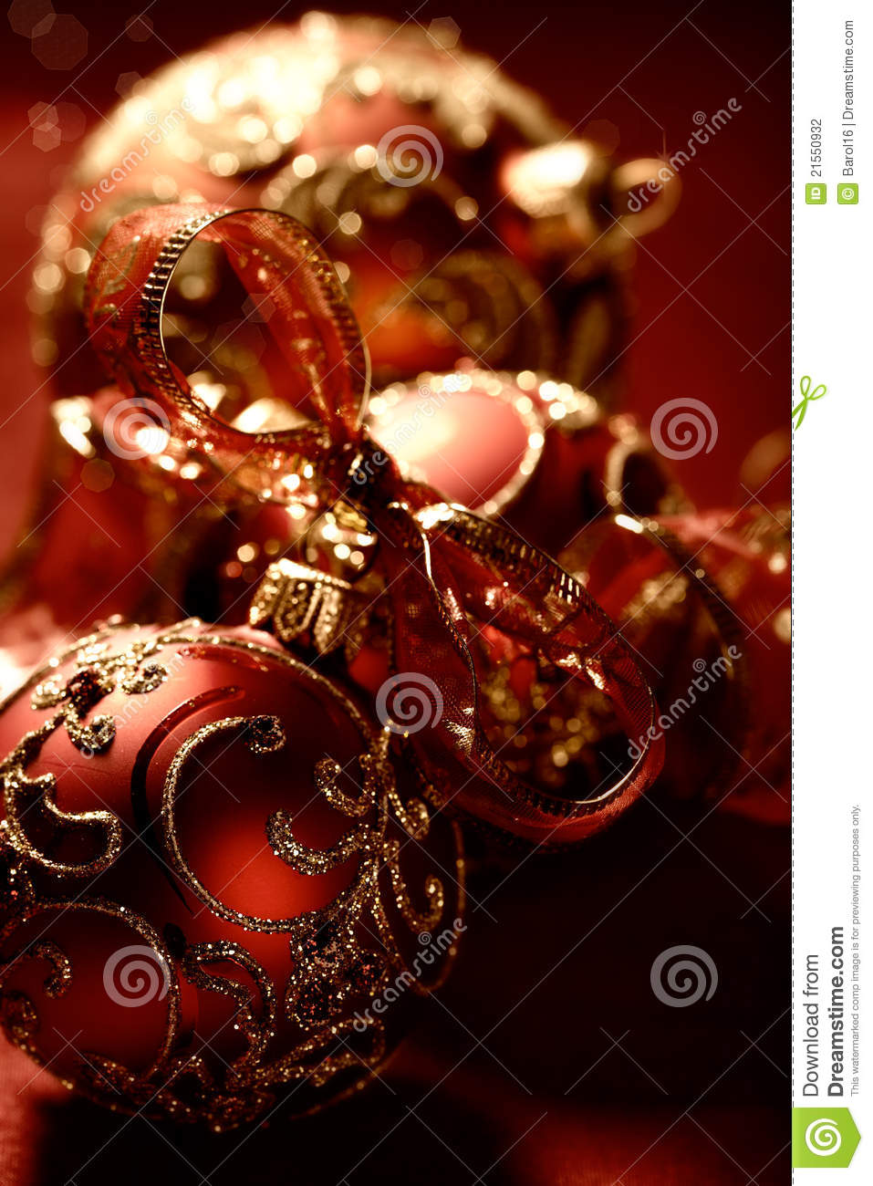 Elegant Red Christmas Ornaments Stock Photography - Image: 21550932
