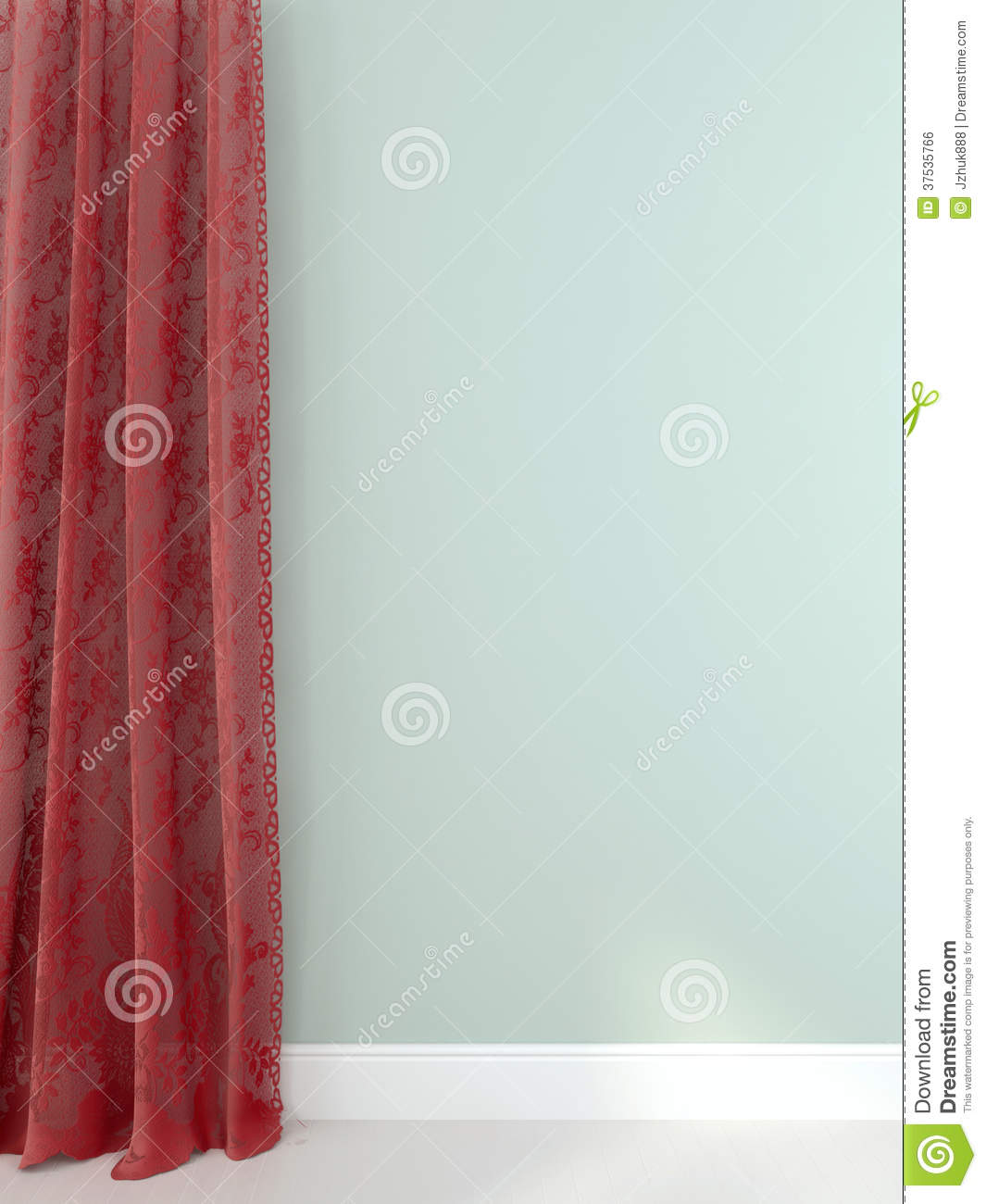 elegant red curtains against a light blue wall royalty free stock image image 37535766. Black Bedroom Furniture Sets. Home Design Ideas