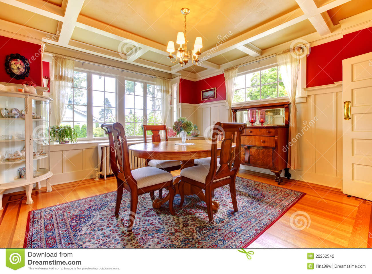 Elegant red and gold dining room stock photo image 22262542 for Red dining room