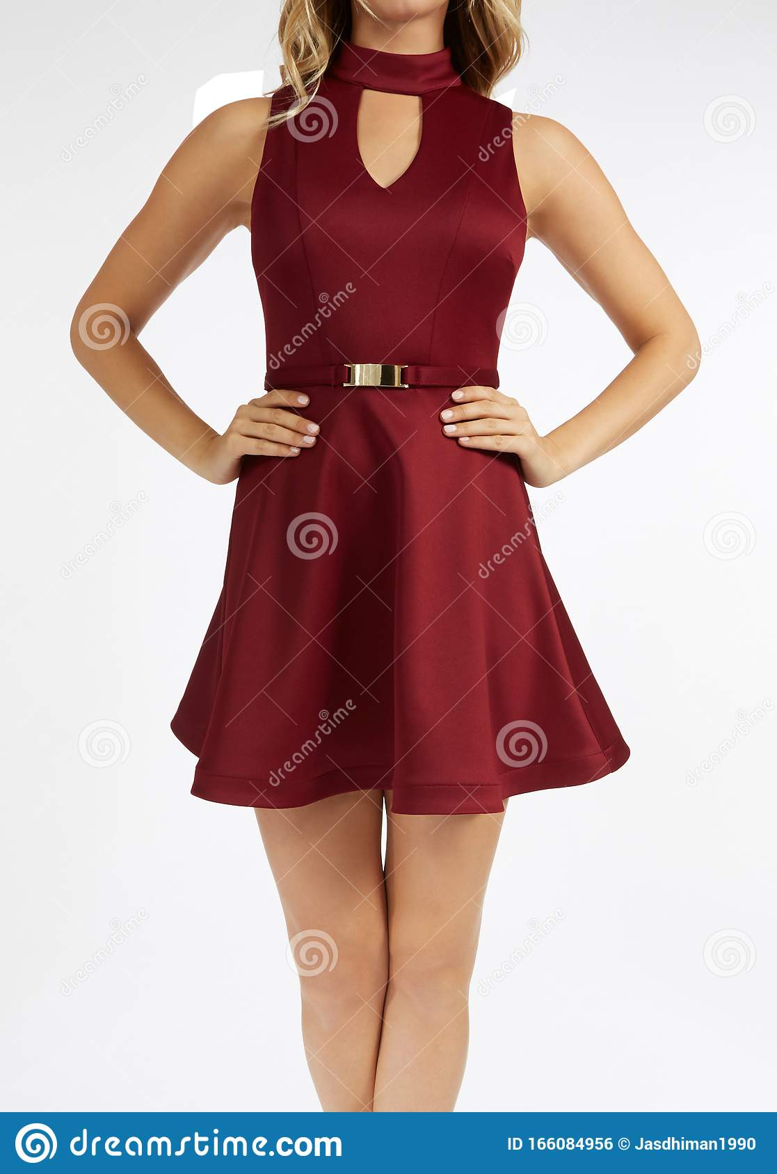 Elegant Red One Piece Sleeveless Dress With Flared Bottom With White Background Latest Design Short Frocks For Girl San Stock Photo Image Of Length Brunette 166084956