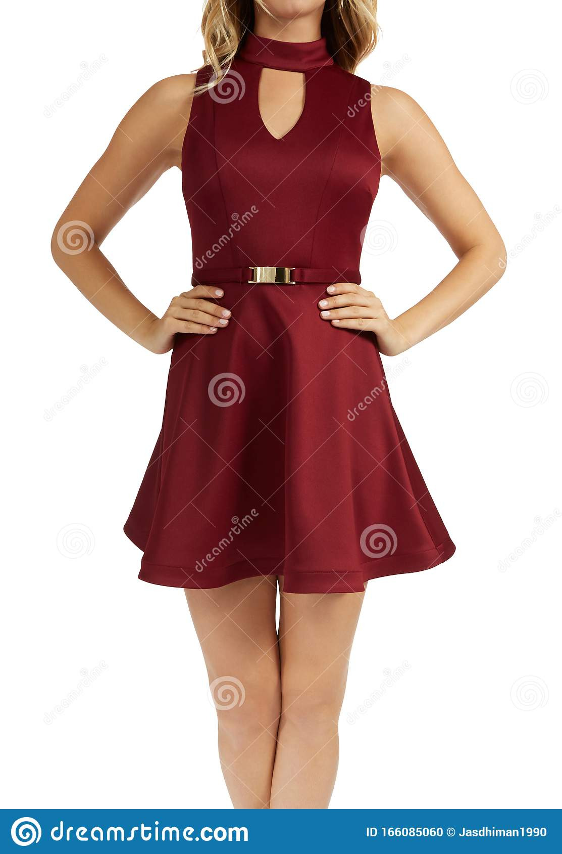 Elegant Red One Piece Sleeveless Dress With Flared Bottom With White Background Latest Design Short Frocks For Girl San Stock Photo Image Of Heels Manager 166085060