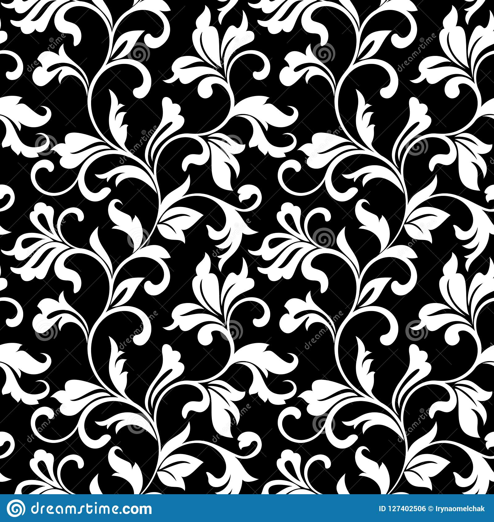 elegant seamless pattern classic tracery black background vintage style texture print wallpaper home decor textile 127402506