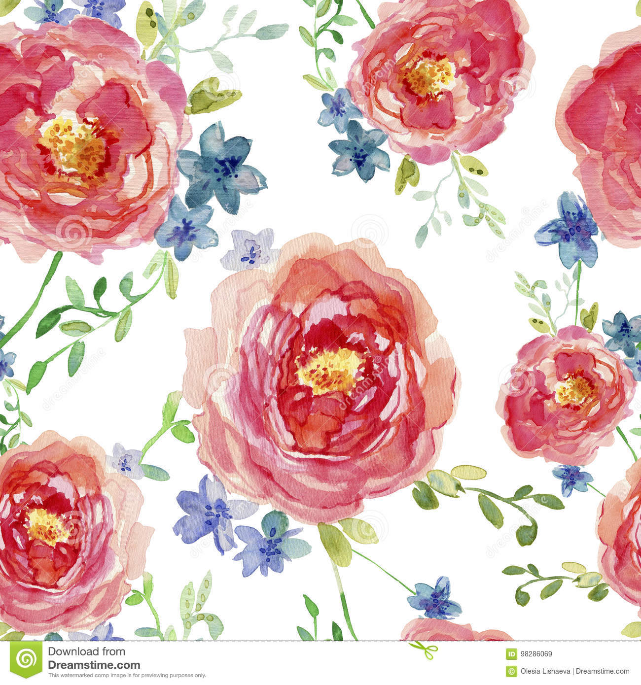 Elegant Seamless Pattern With Hand Drawn Decorative Rose Flowers ...