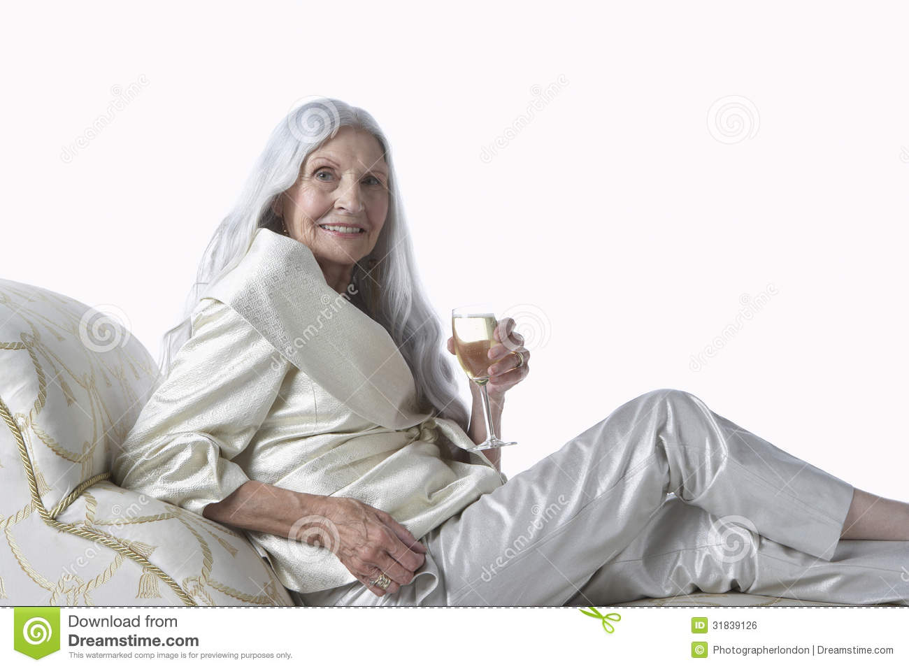 Elegant Senior Woman Chaise Lounge With Champagne Royalty Free Stock Image Image
