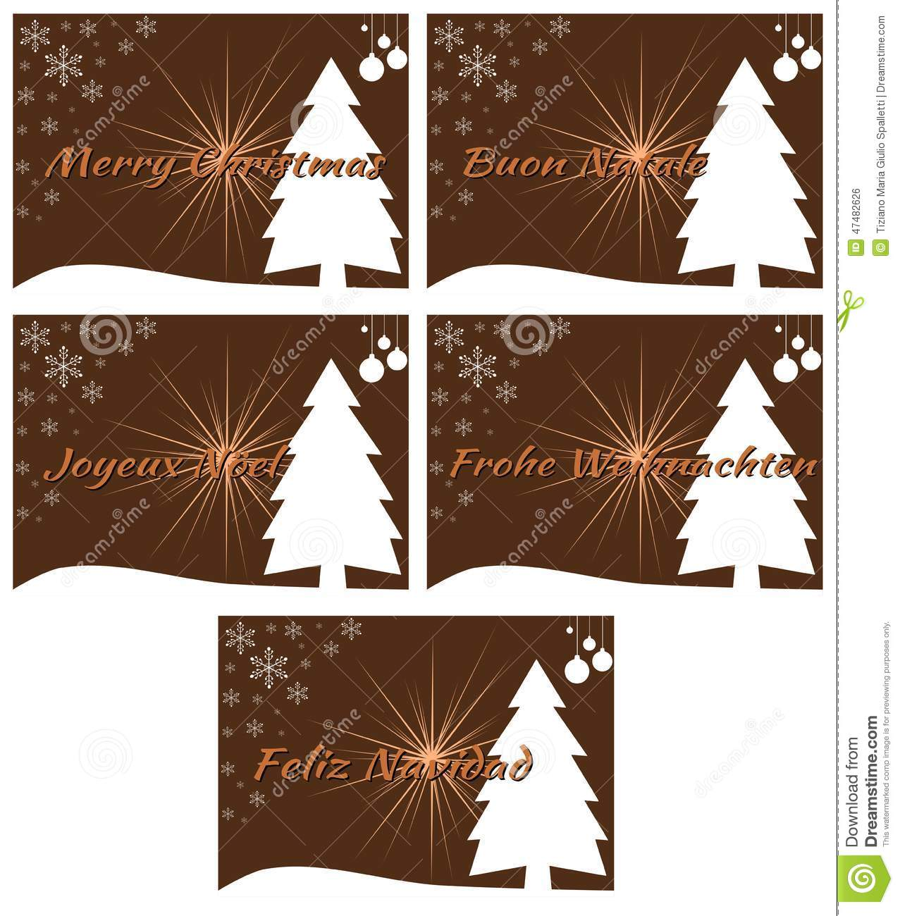 Elegant set of christmas greeting card in green stock for Green in different languages