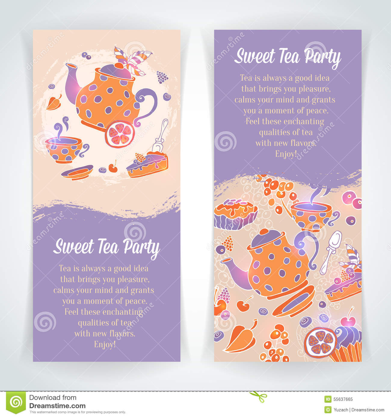Elegant Set Of Hand Drawn Tea And Cakes Banners Stock Vector ...