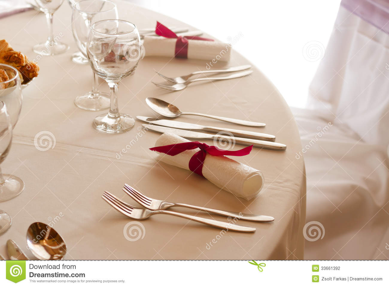Elegant setting on the wedding or dinner table stock photo for Fancy dinner table
