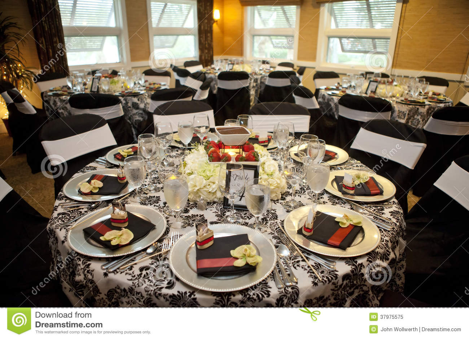 elegant setup for catered dinner royalty free stock photo - image