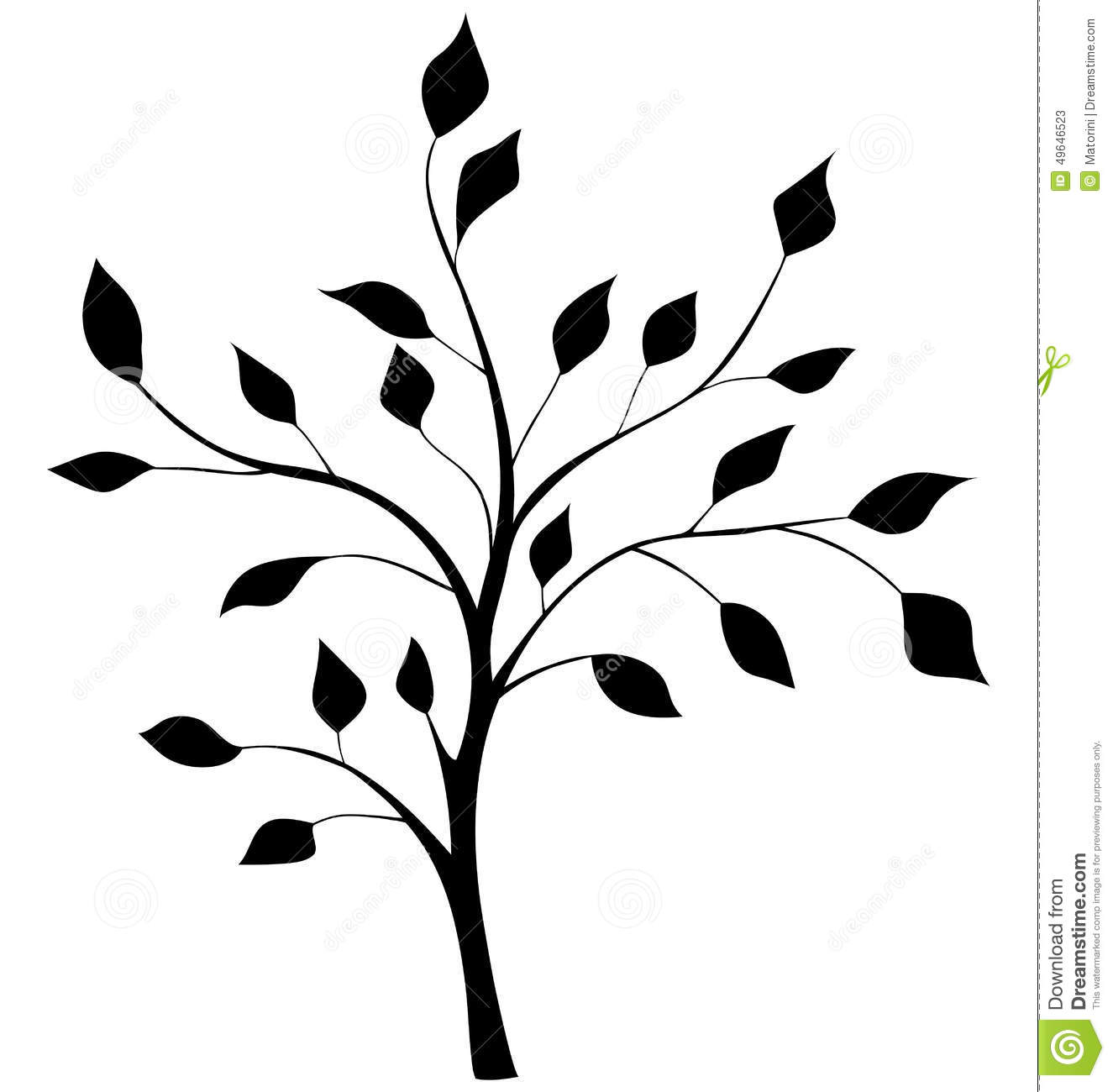 elegant silhouette of a tree stock vector image 49646523