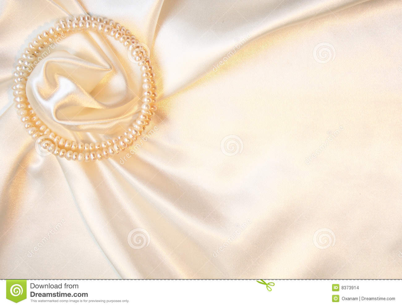 Elegant Silk With Pearls As Wedding Background Stock