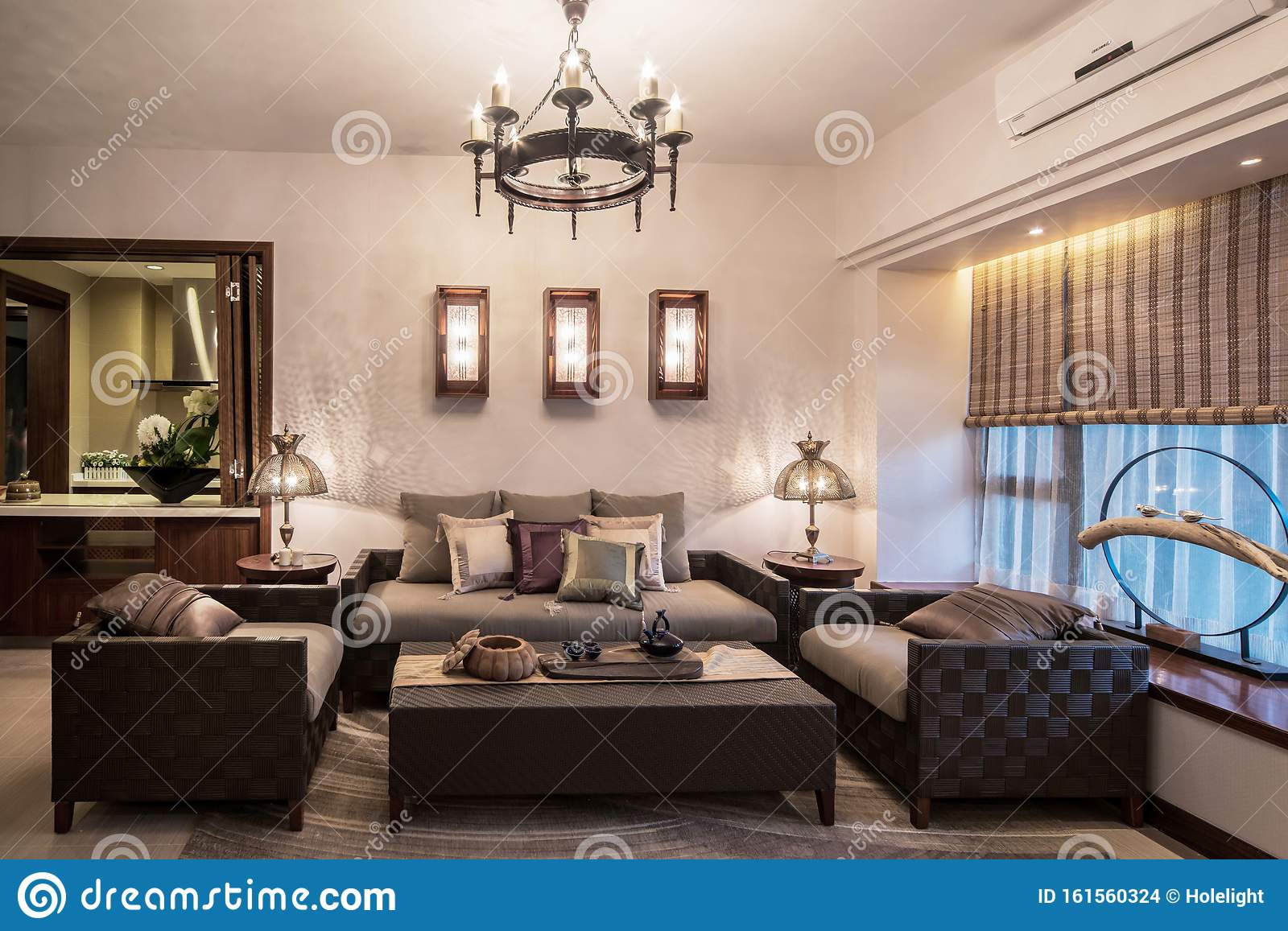 Elegant And Simple Oriental Thai Style Earth Tones Home Living Room Interior Design With Special Lamp And Vine Furniture Stock Photo Image Of Interior Feature 161560324