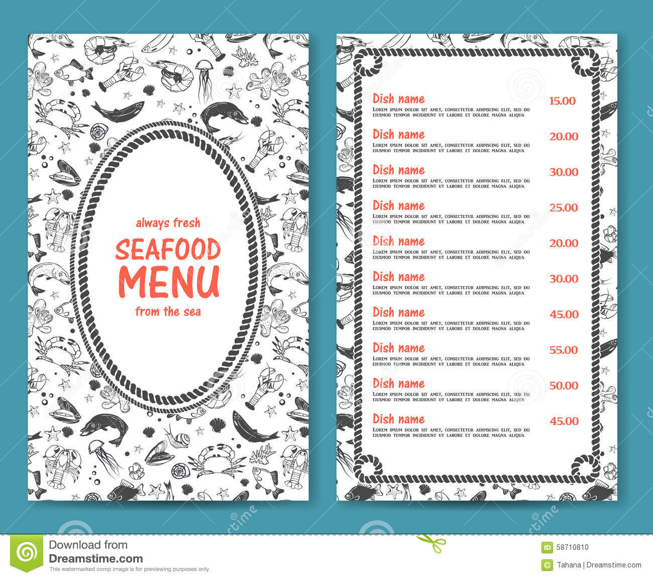 elegant and simple seafood restaurant or cafe menu stock vector