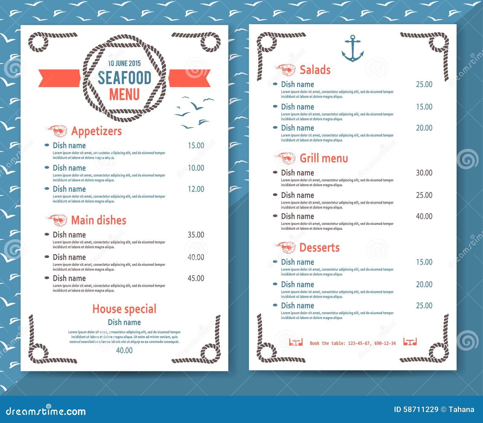 French Restaurant Menu Layout Ideas