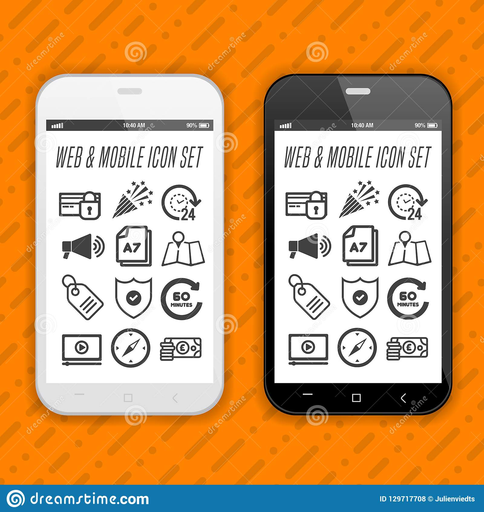 Elegant smartphones with icons, applications. Mobile phone realistic Eps10 vector design.