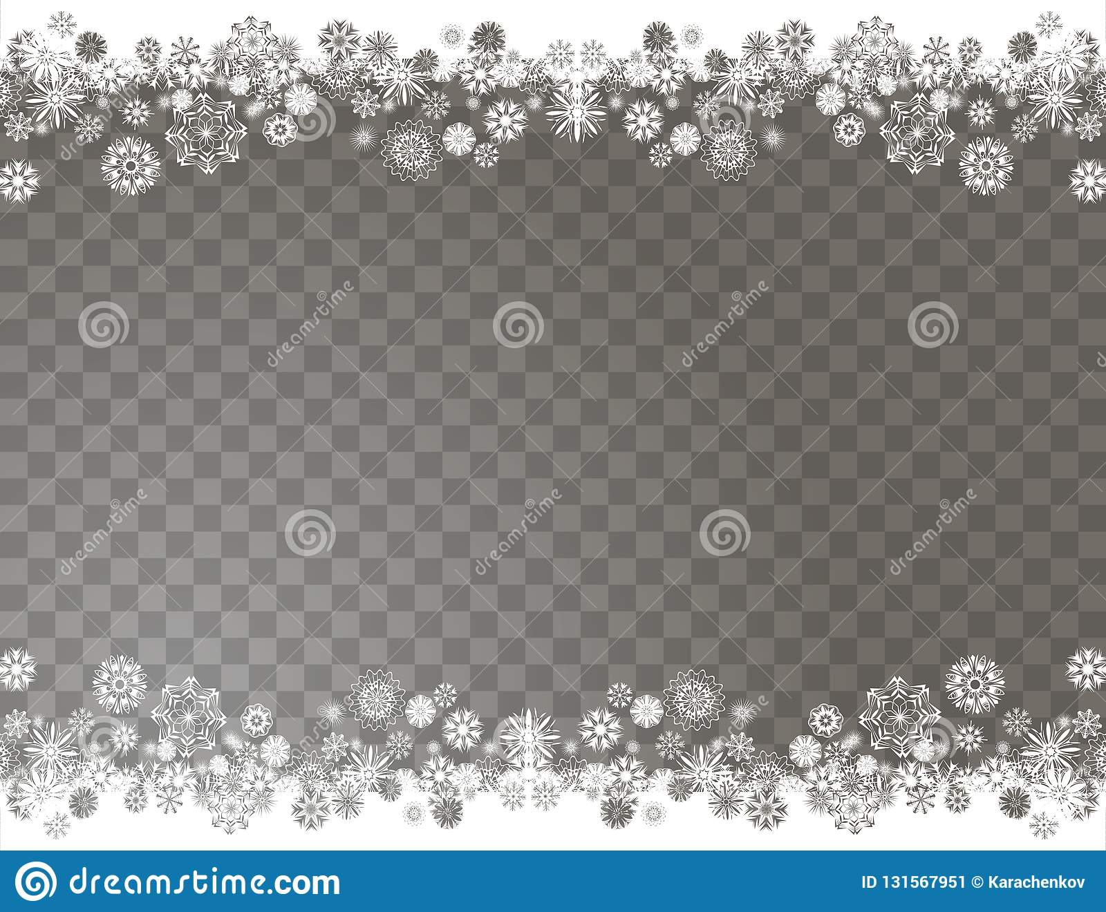 Elegant snow border on a transparent background. Abstract snowflakes background for your Merry Christmas and Happy New Year design