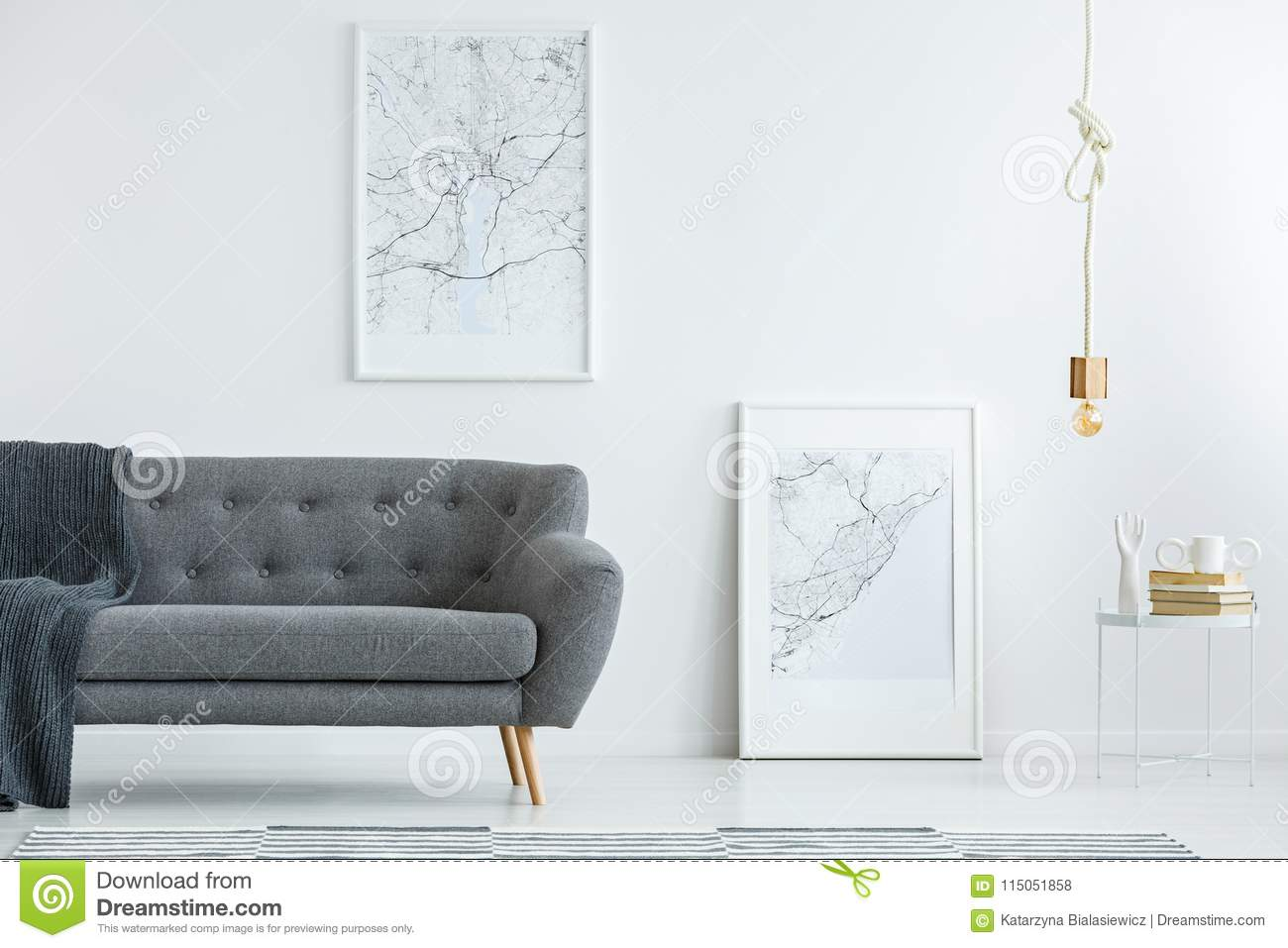 Groovy Elegant Sofa And Map Posters Stock Photo Image Of Theyellowbook Wood Chair Design Ideas Theyellowbookinfo