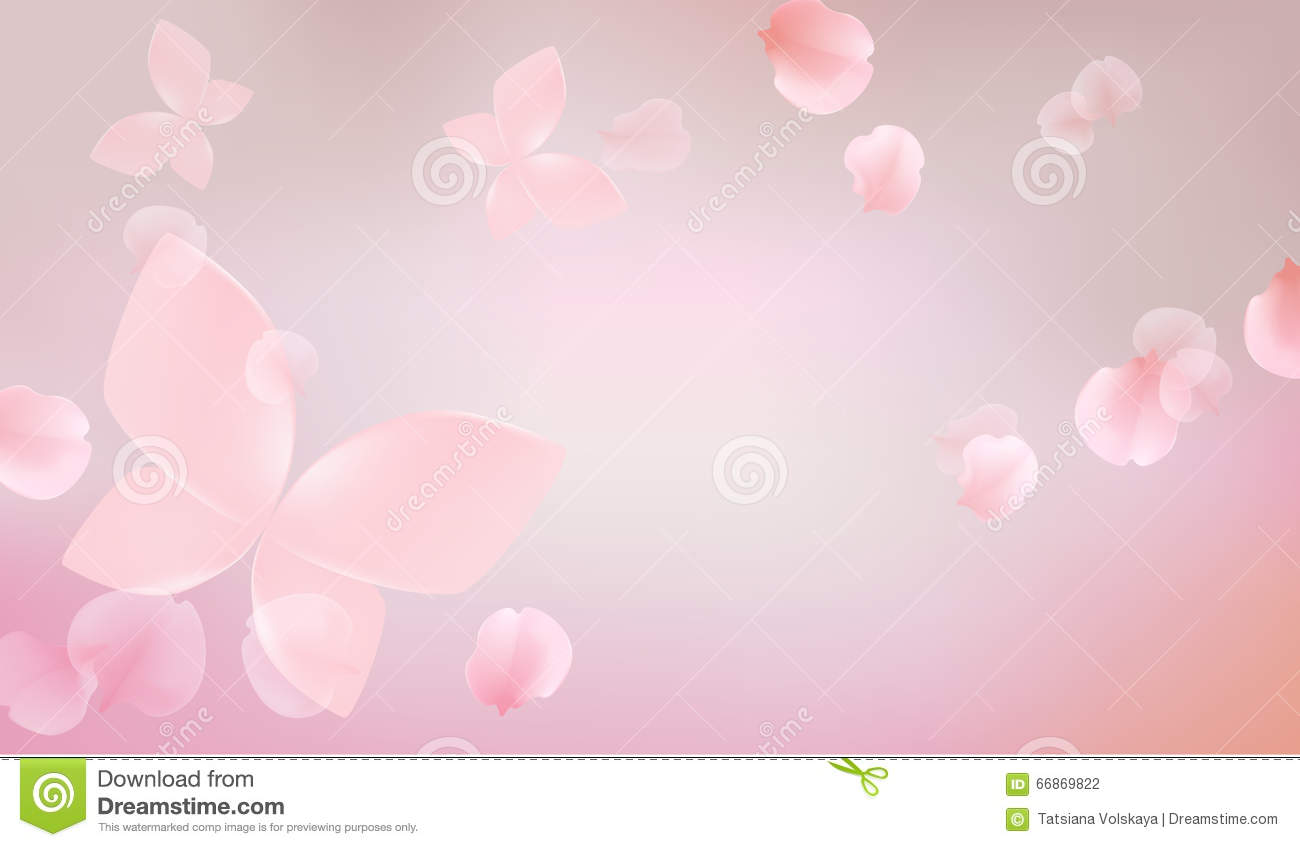 Elegant Soft Pink Color Flowers With Butterfly Illustration 66869822