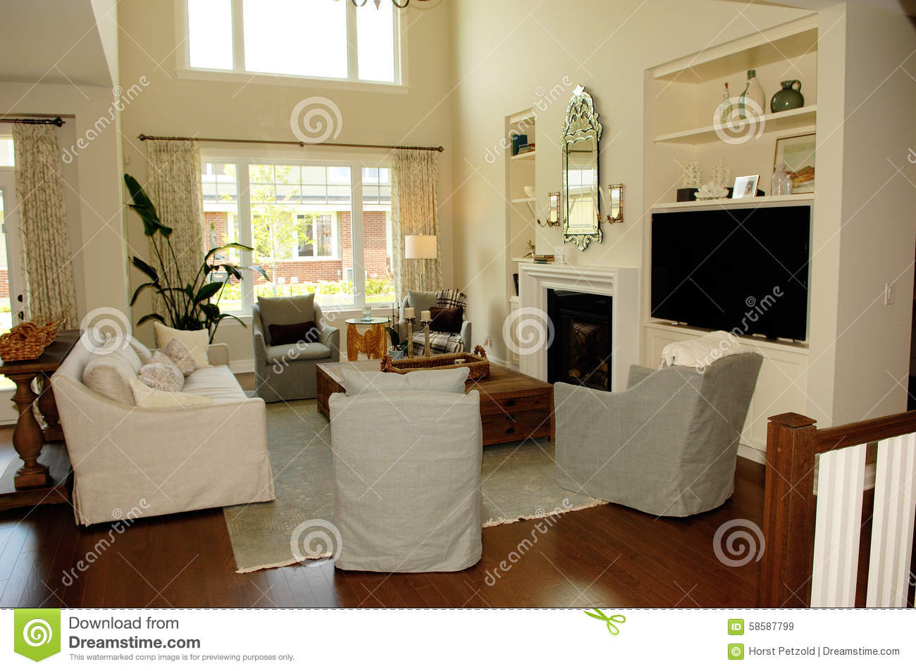 Royalty Free Stock Photo. Download Elegant Spaces Living Room With Big  Windowu0027s.