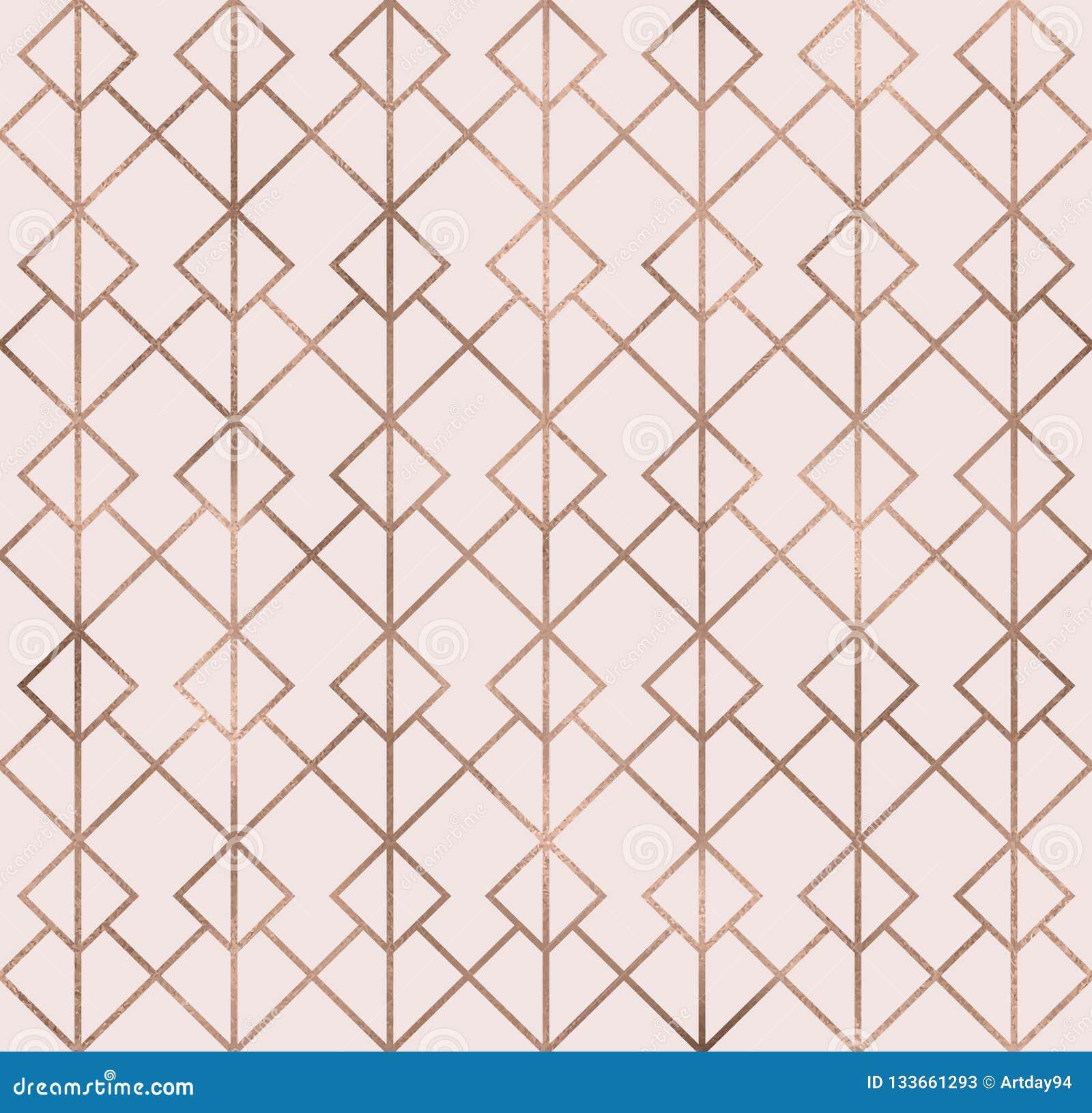 Elegant Sparkle Geometric Seamless Pattern With Rose Gold Foil