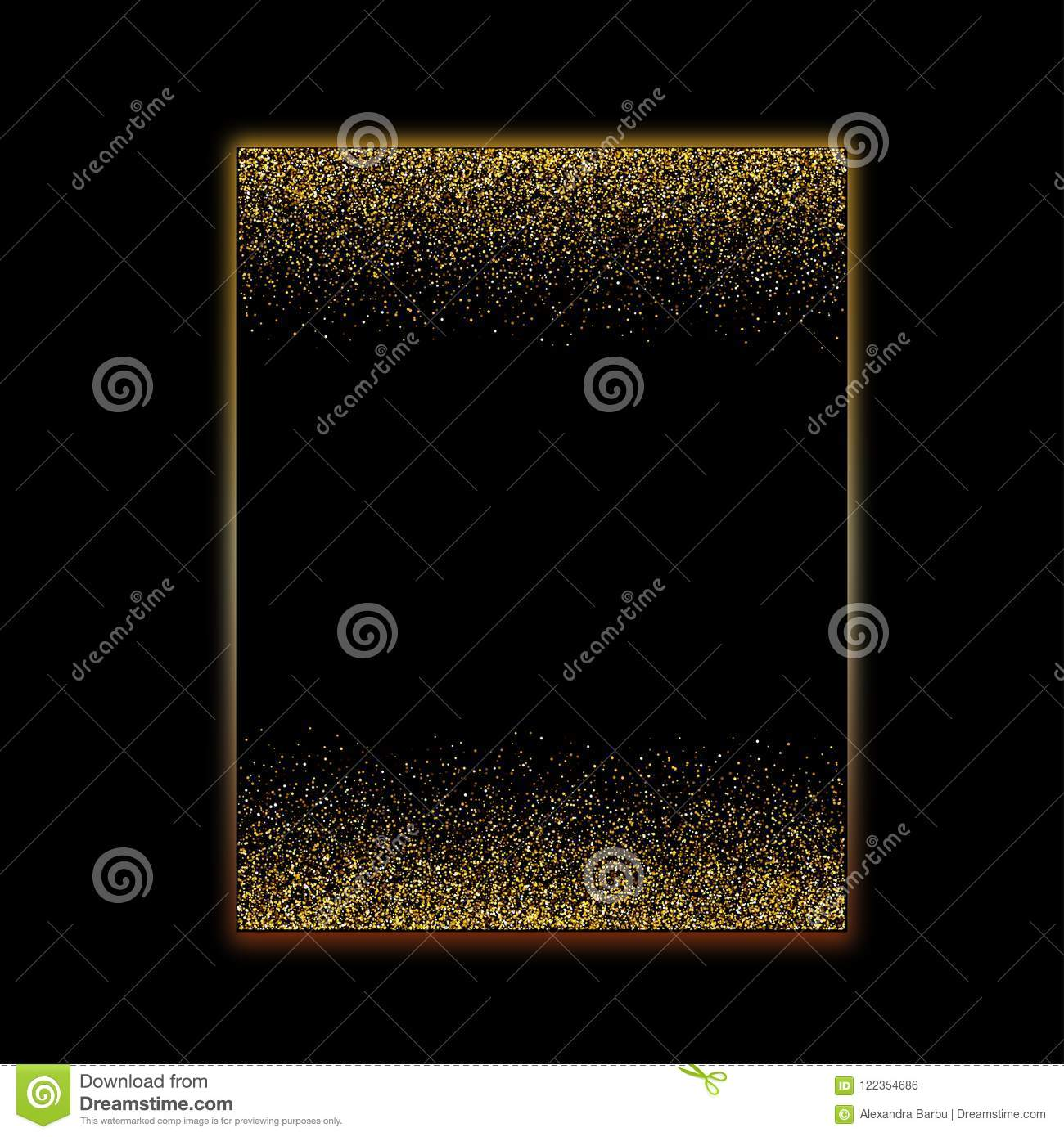 luxury falling gold glitter border black paper card background
