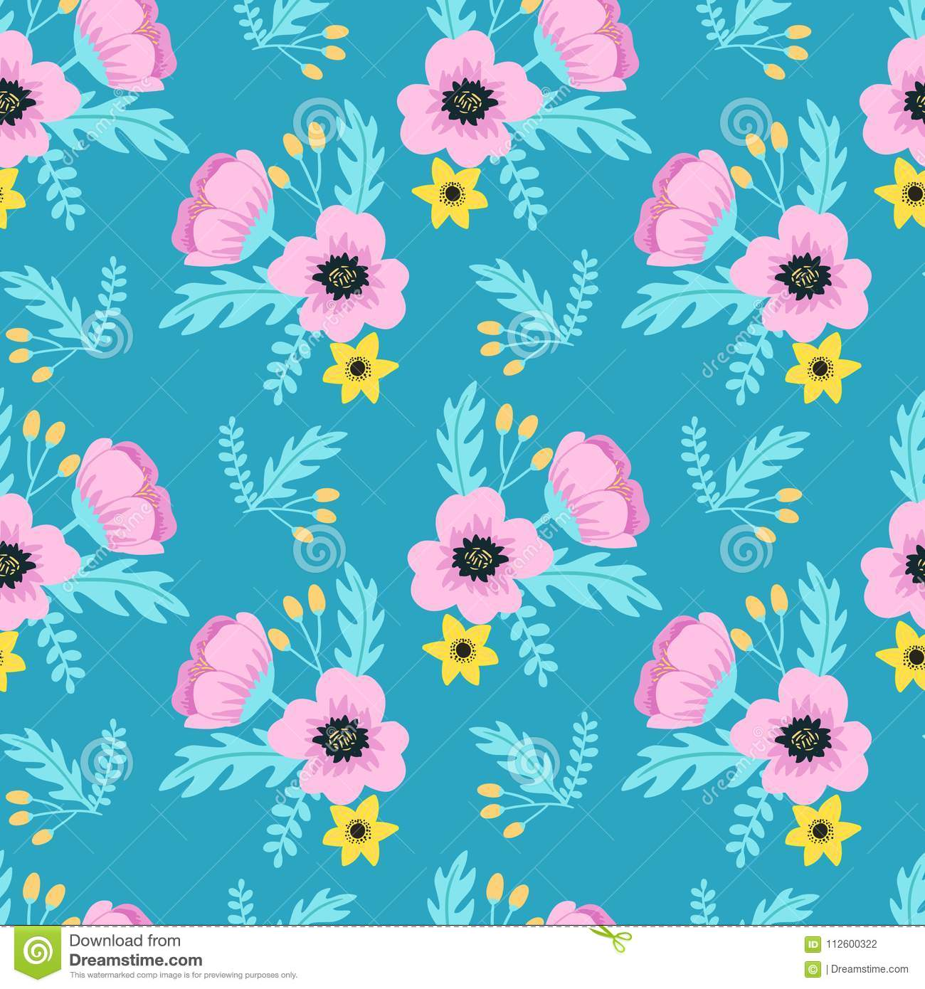 Elegant Spring Colorful Seamless Floral Pattern With Pink And Yellow