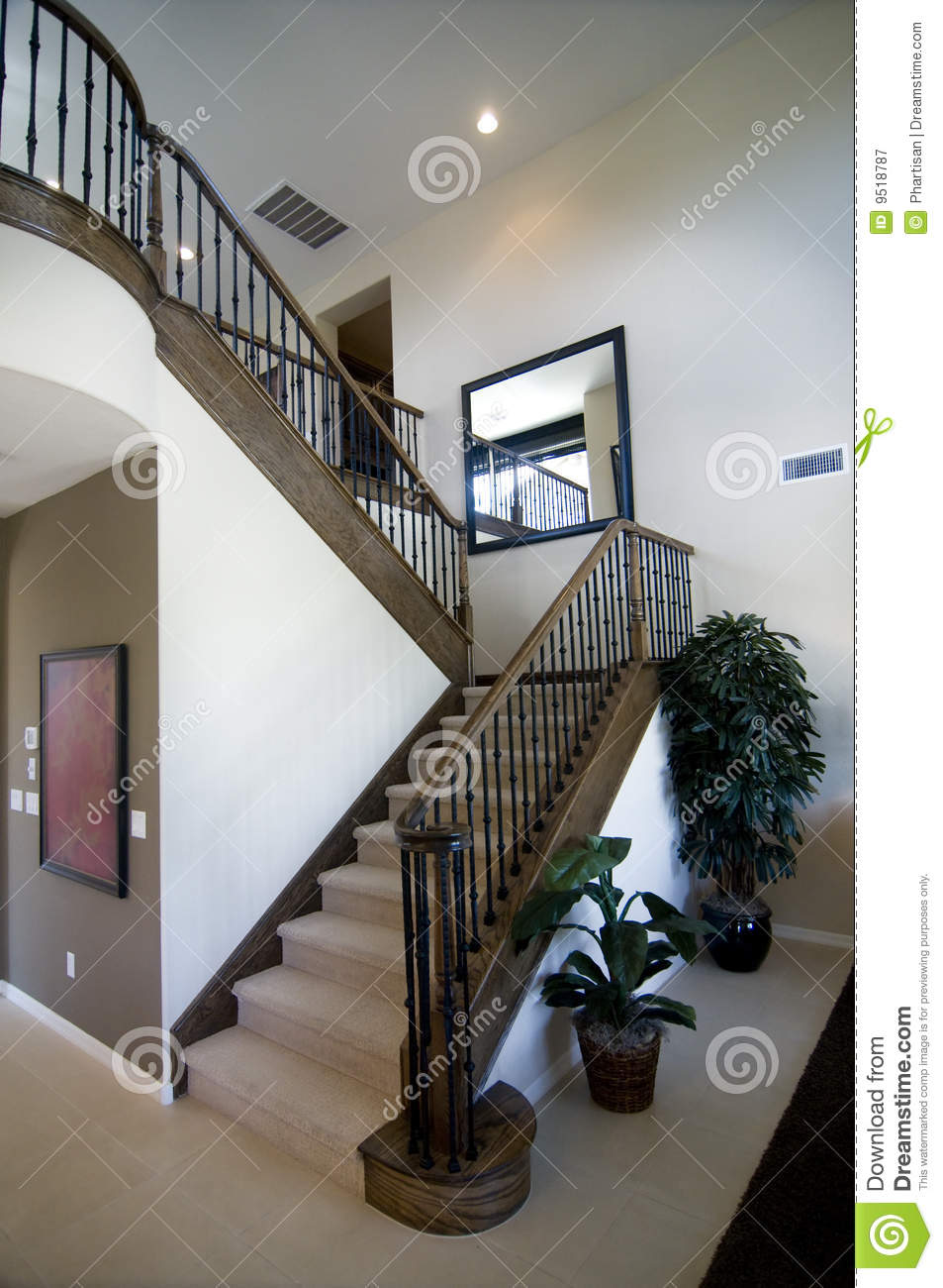 Elegant Stair Case And Wooden Banister Stock Image Image