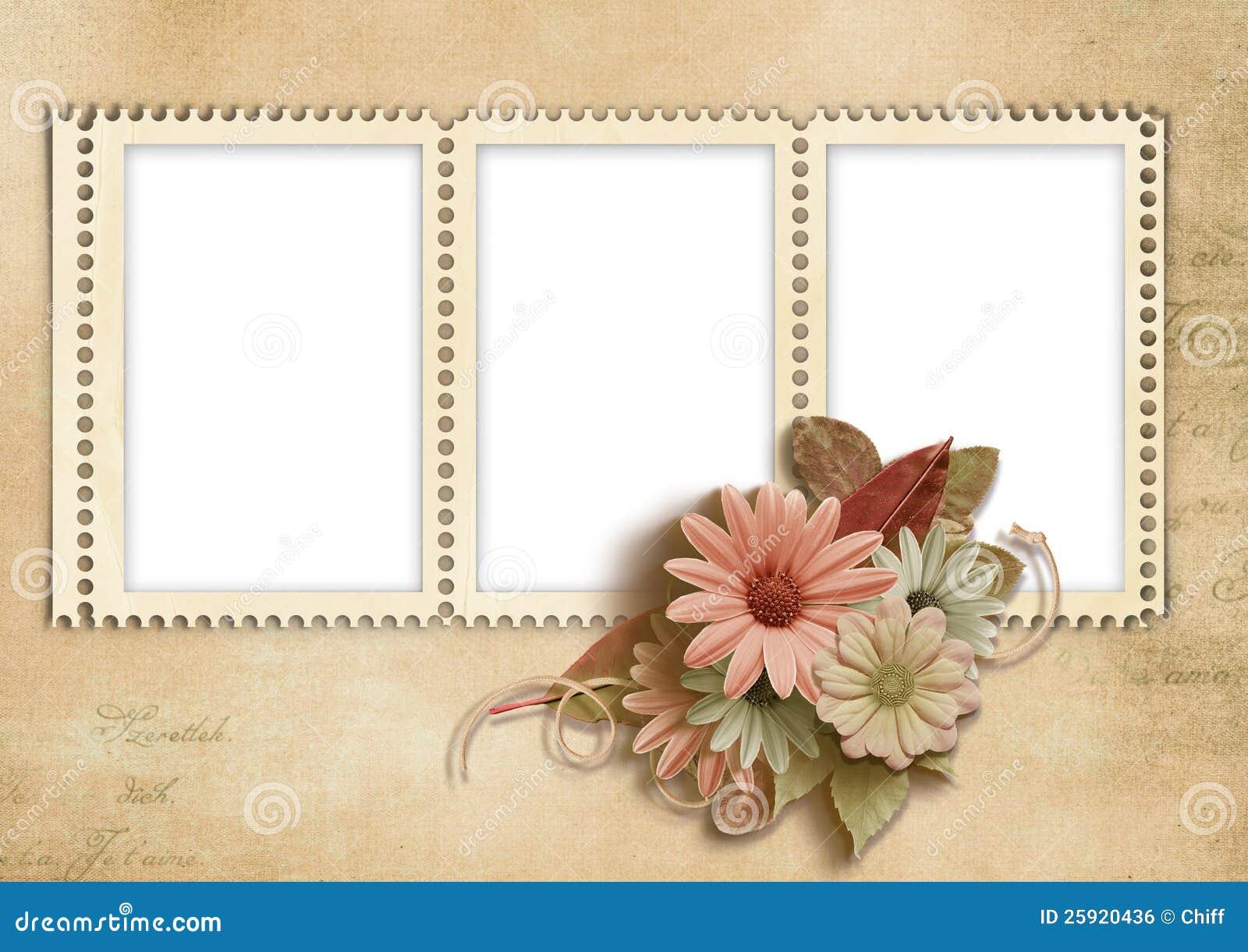 Fabulous Elegant Stamp-frames With Autumn Flowers Stock Illustration  DT47