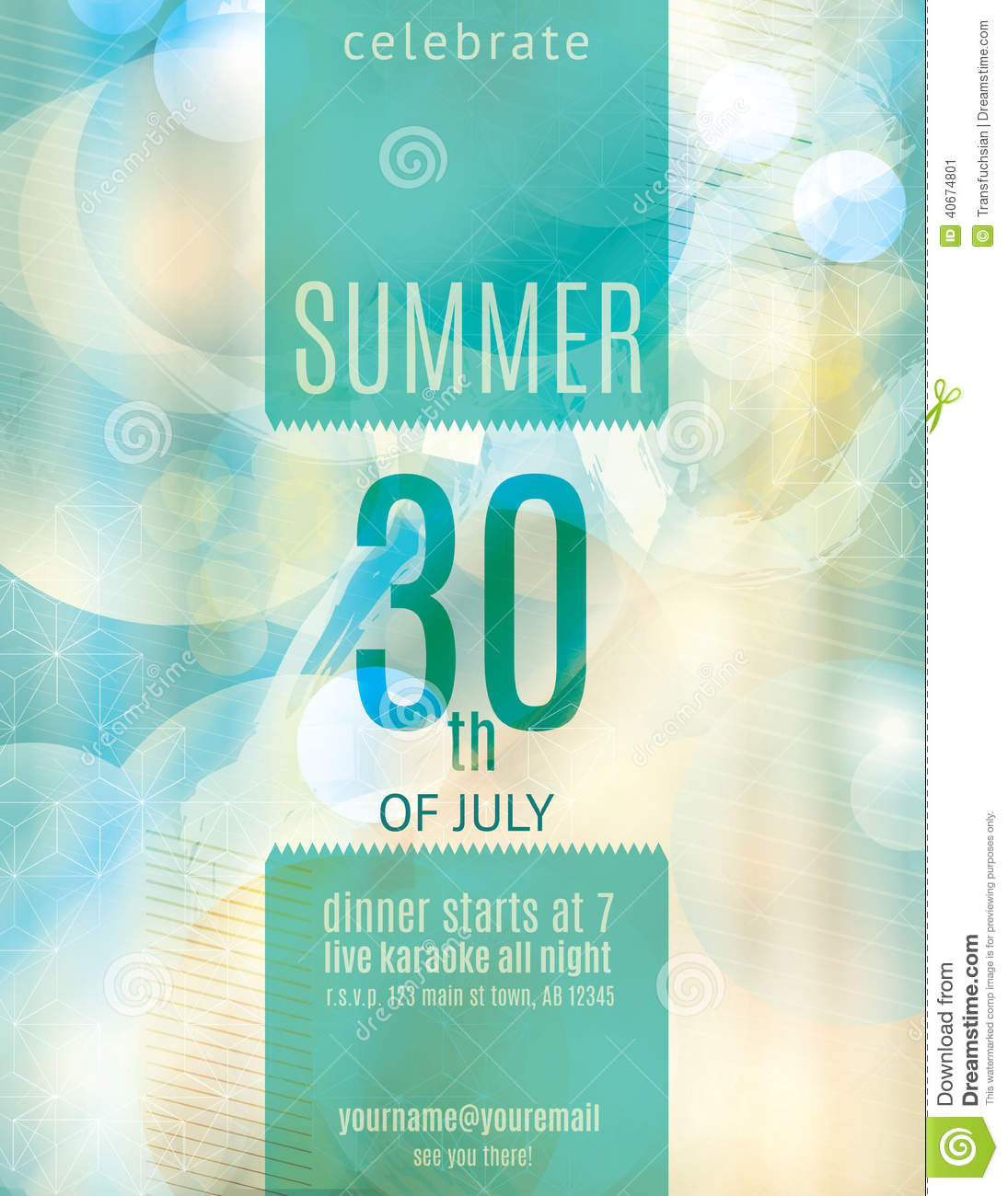 elegant summer party invitation flyer template stock