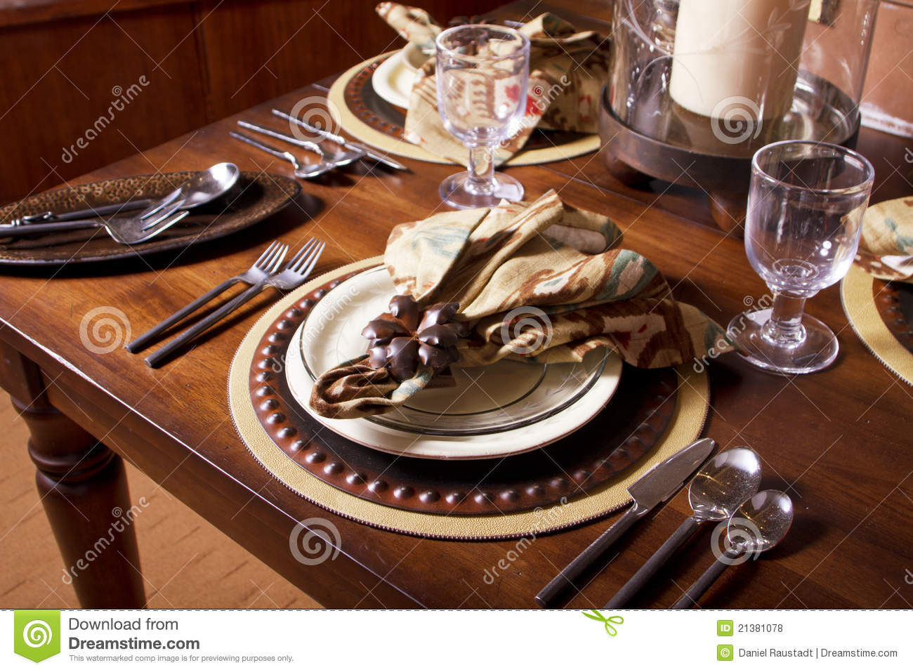 Elegant Table Place Setting Stock Photo Image 21381078