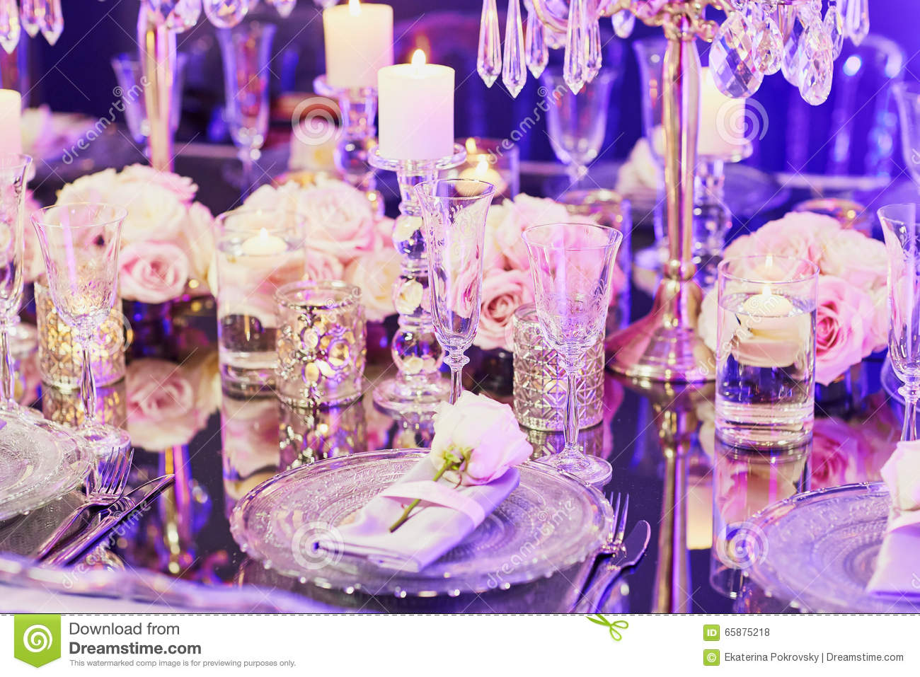 Elegant Table Set For An Event Party Or Wedding Reception Stock ...