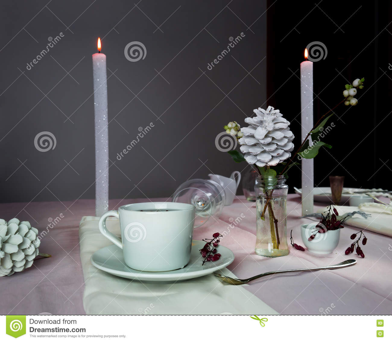 Elegant dinner table setting - Elegant Table Setting Christmas Romantic Dinner A Table With A Tablecloth Cutlery Candles Flowers Buds