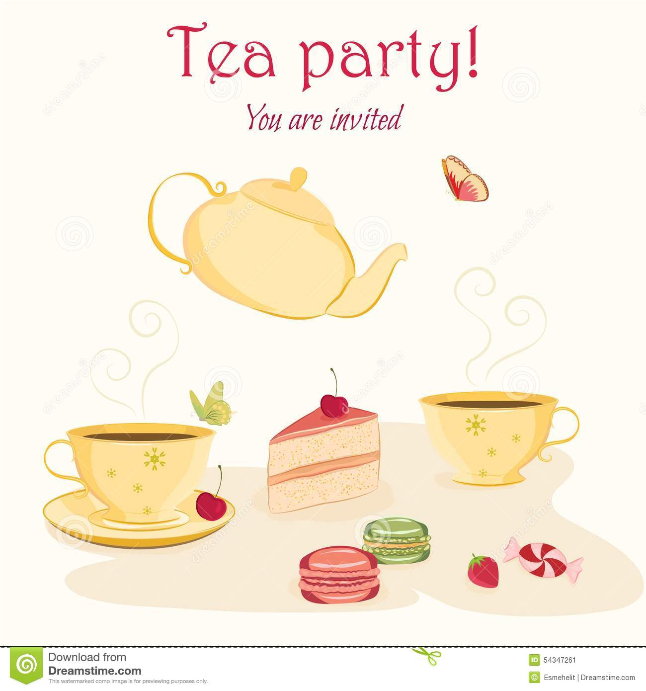Elegant Tea Party Invitation Template With Teacups Stock Vector ...