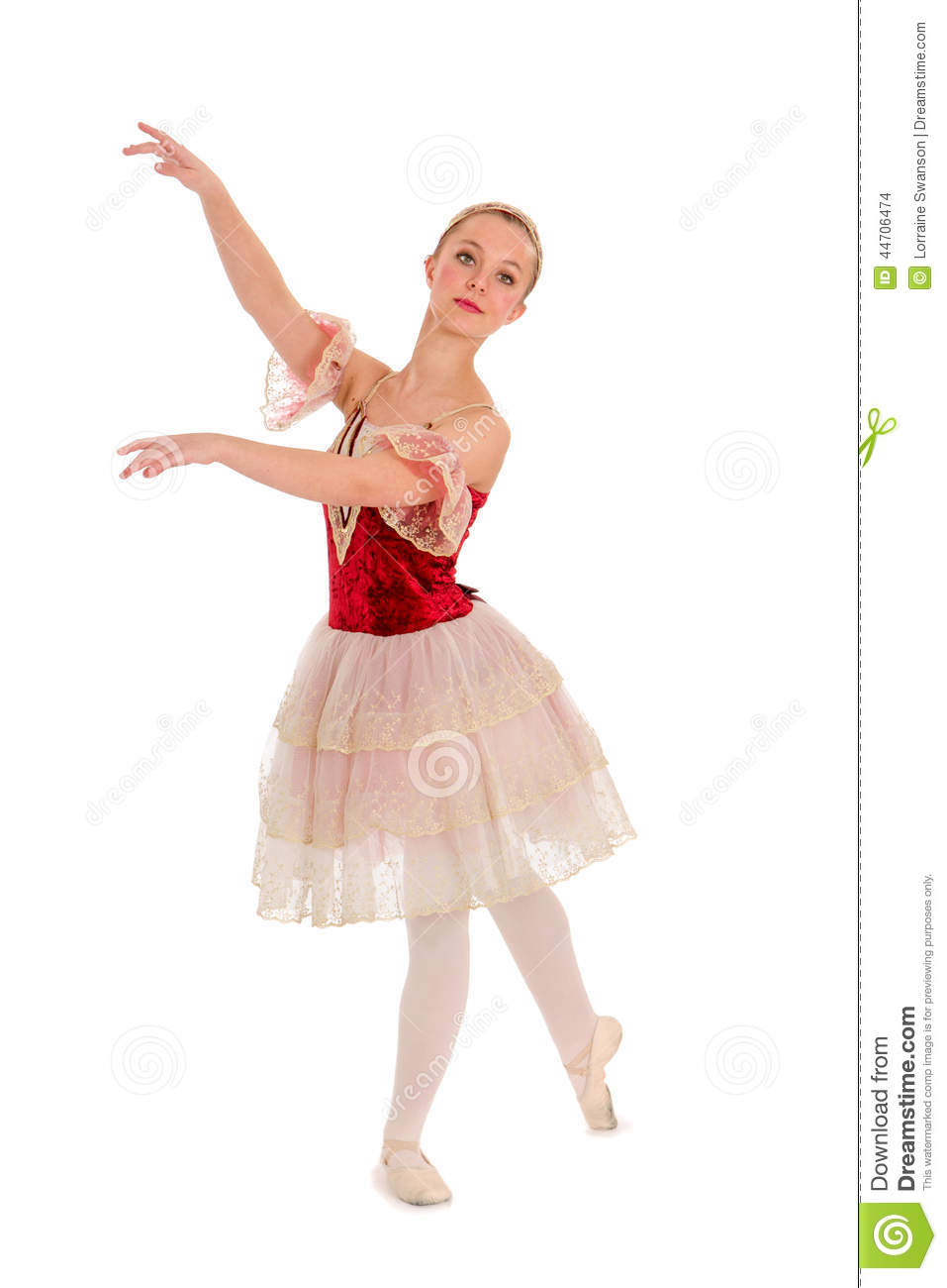 e304a00bf An Elegant Teenage Student Ballerina in Red Spanish Recital Costume