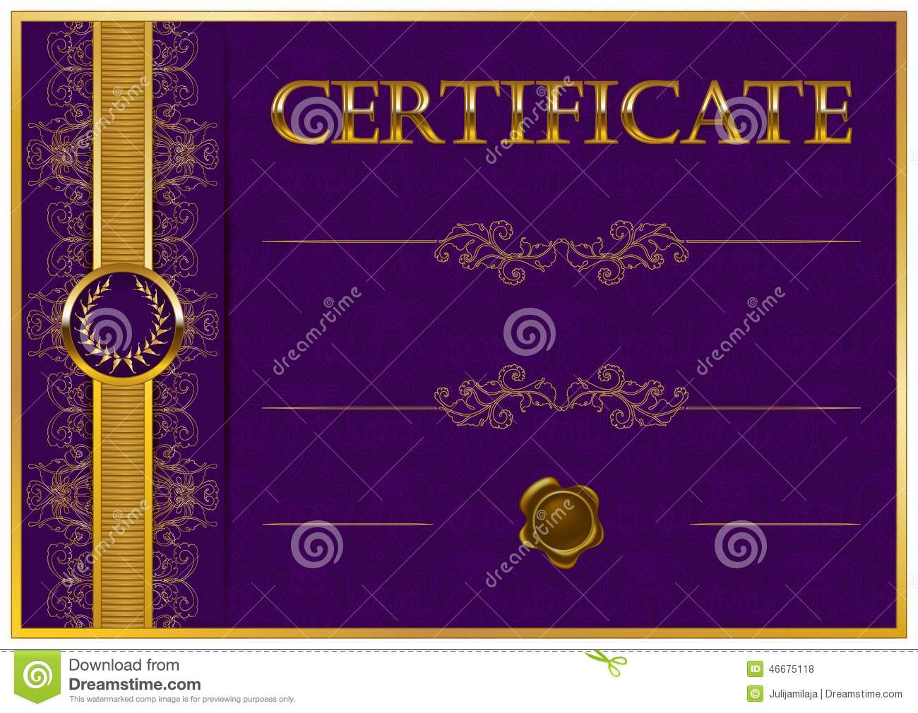 Elegant Template Of Certificate, Diploma Stock Vector ...