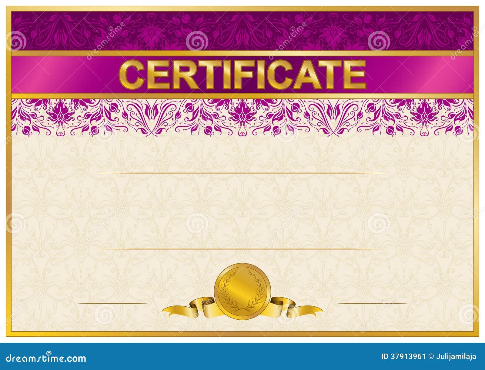 Elegant Template Of Certificate, Diploma Stock Image ...