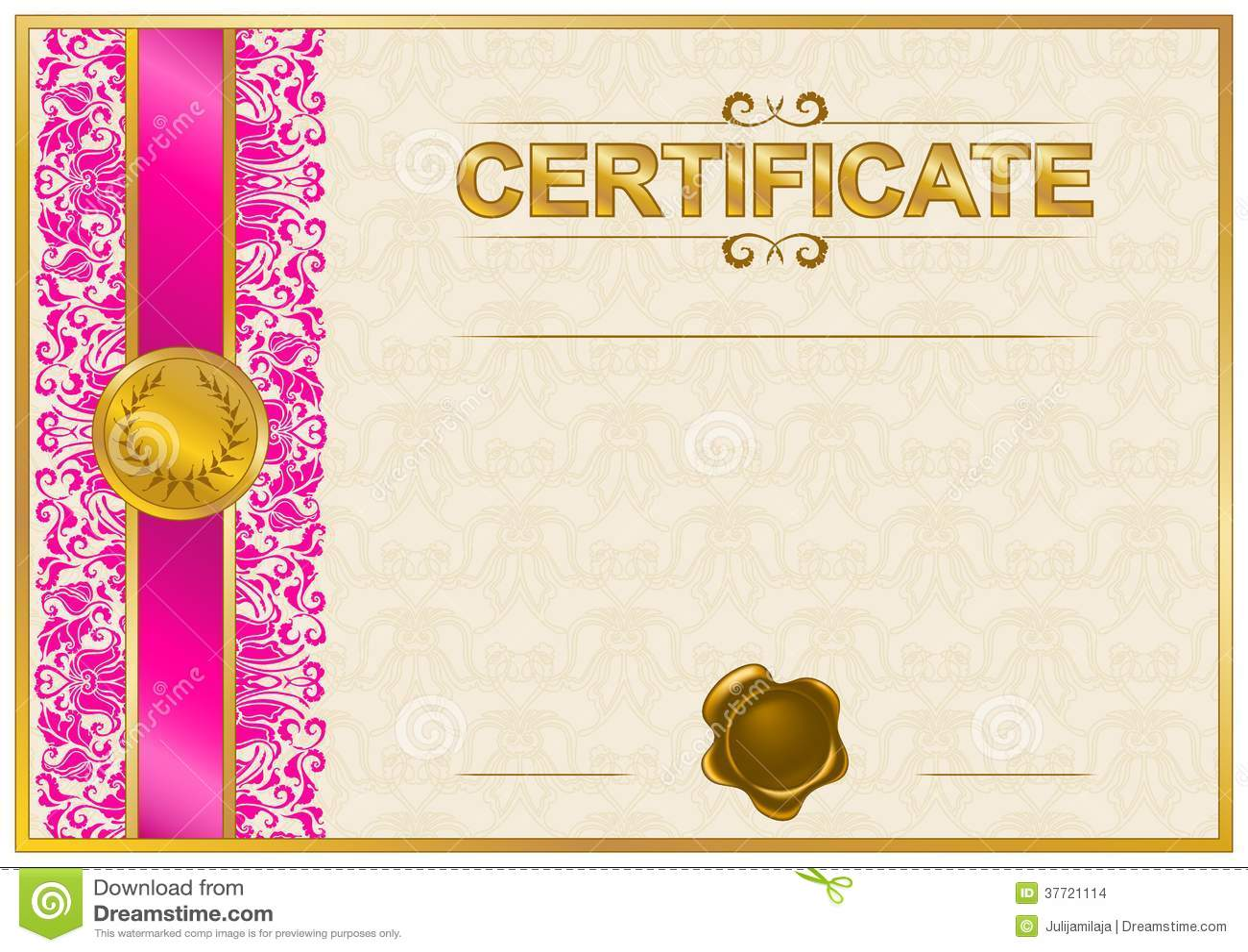elegant template of certificate  diploma stock images