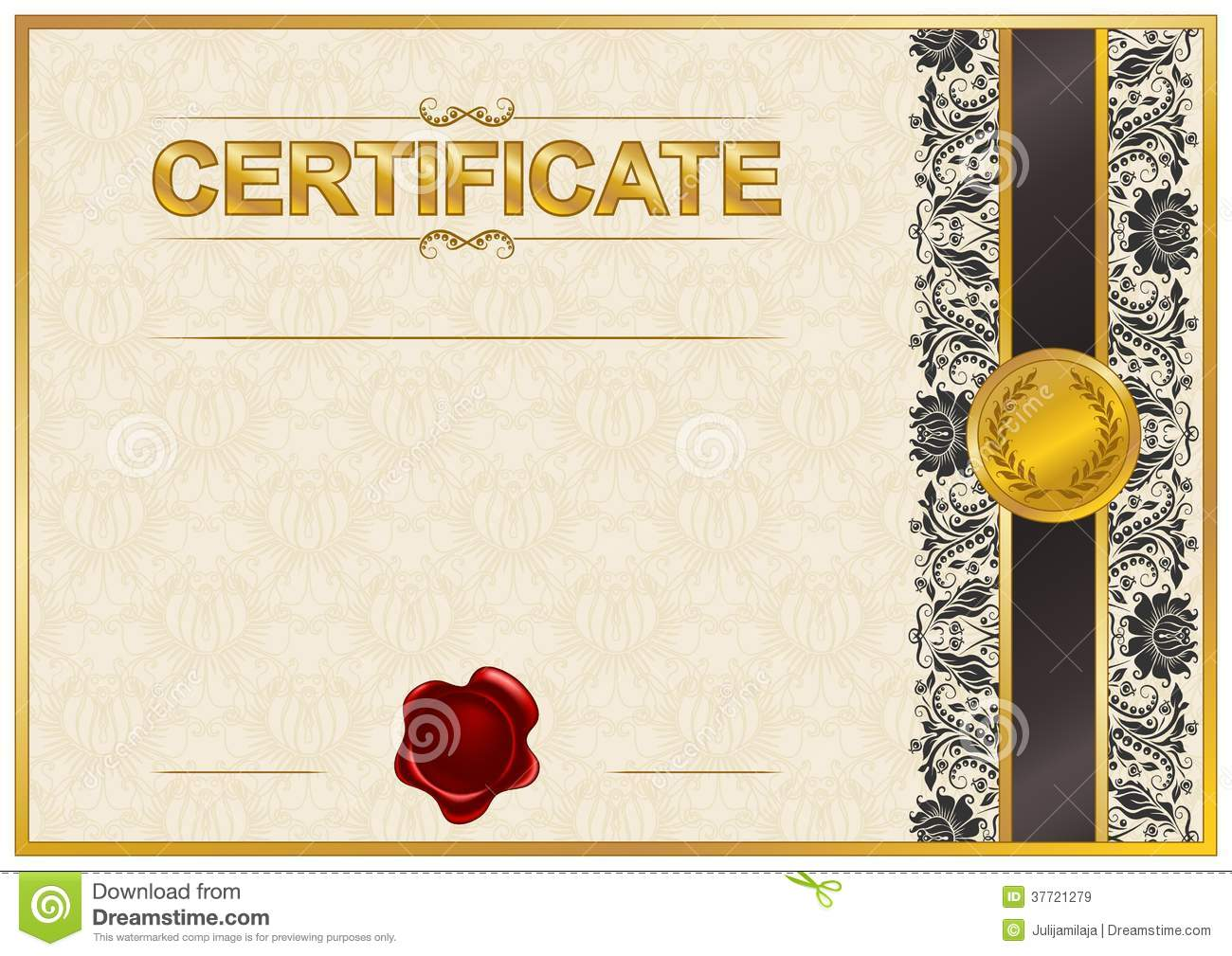 Elegant template of certificate, diploma with lace ornament, wax seal ...