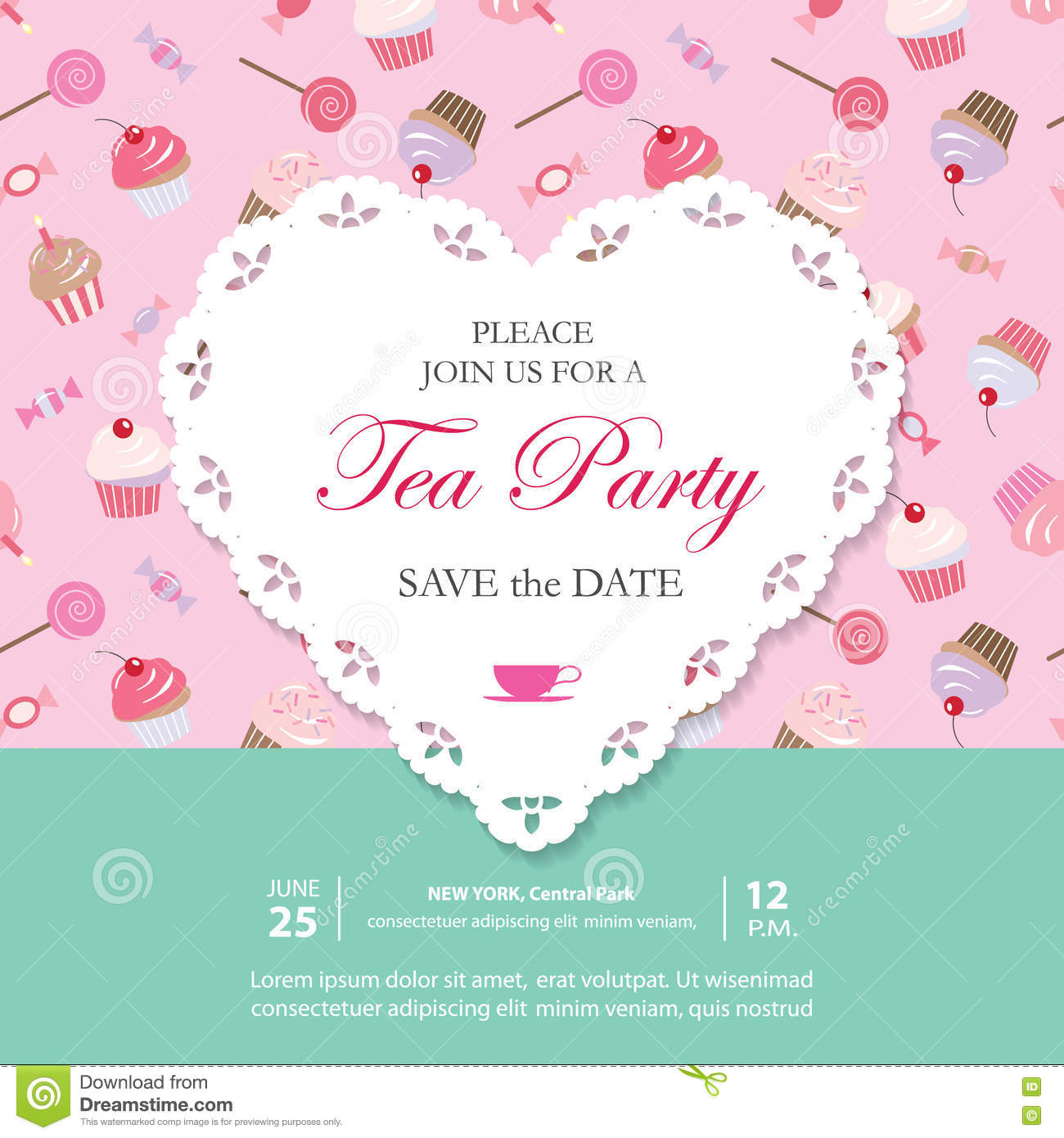 Elegant Template With Lacy Cutout Heart. Tea Party Invitation ...