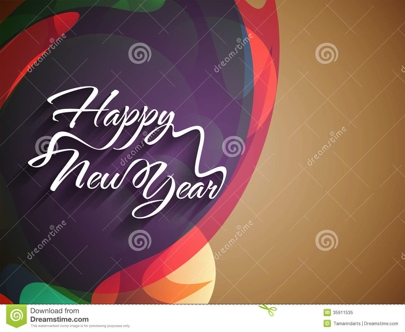 elegant text design of happy new year on colorful