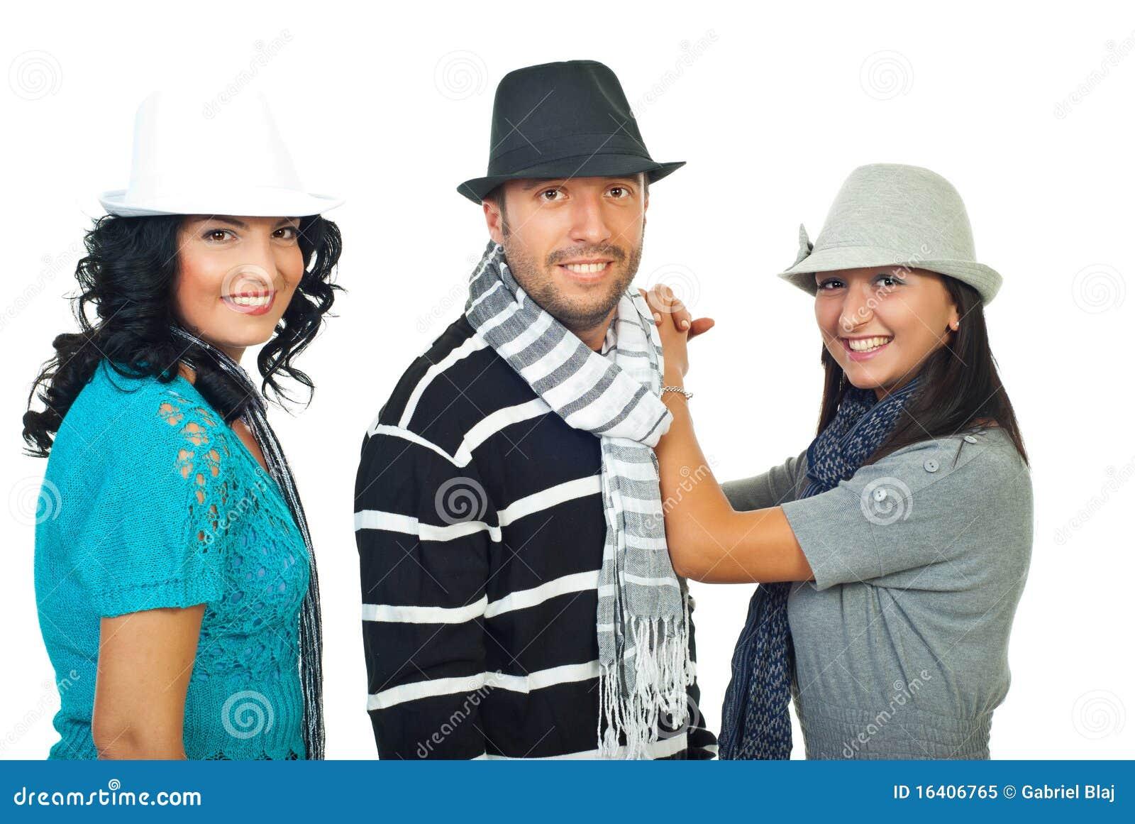 three people personas hats elegant sombreros elegantes tres royalty preview