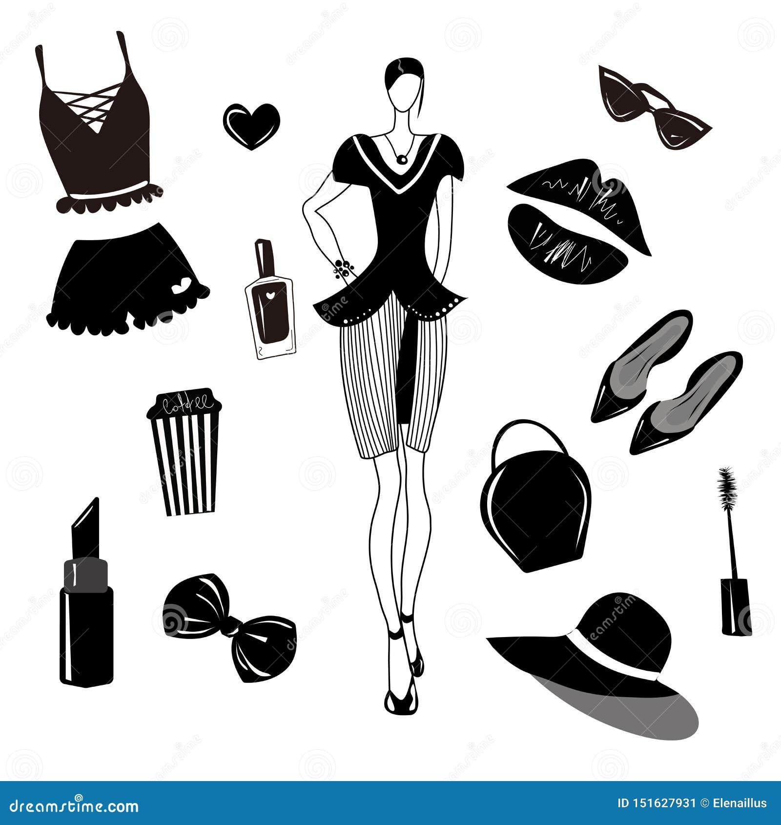 a0bb7d1f5ebf4 Elegant, trendy, stylish hand drawn elements. Isolated. Clip art. More  similar stock illustrations