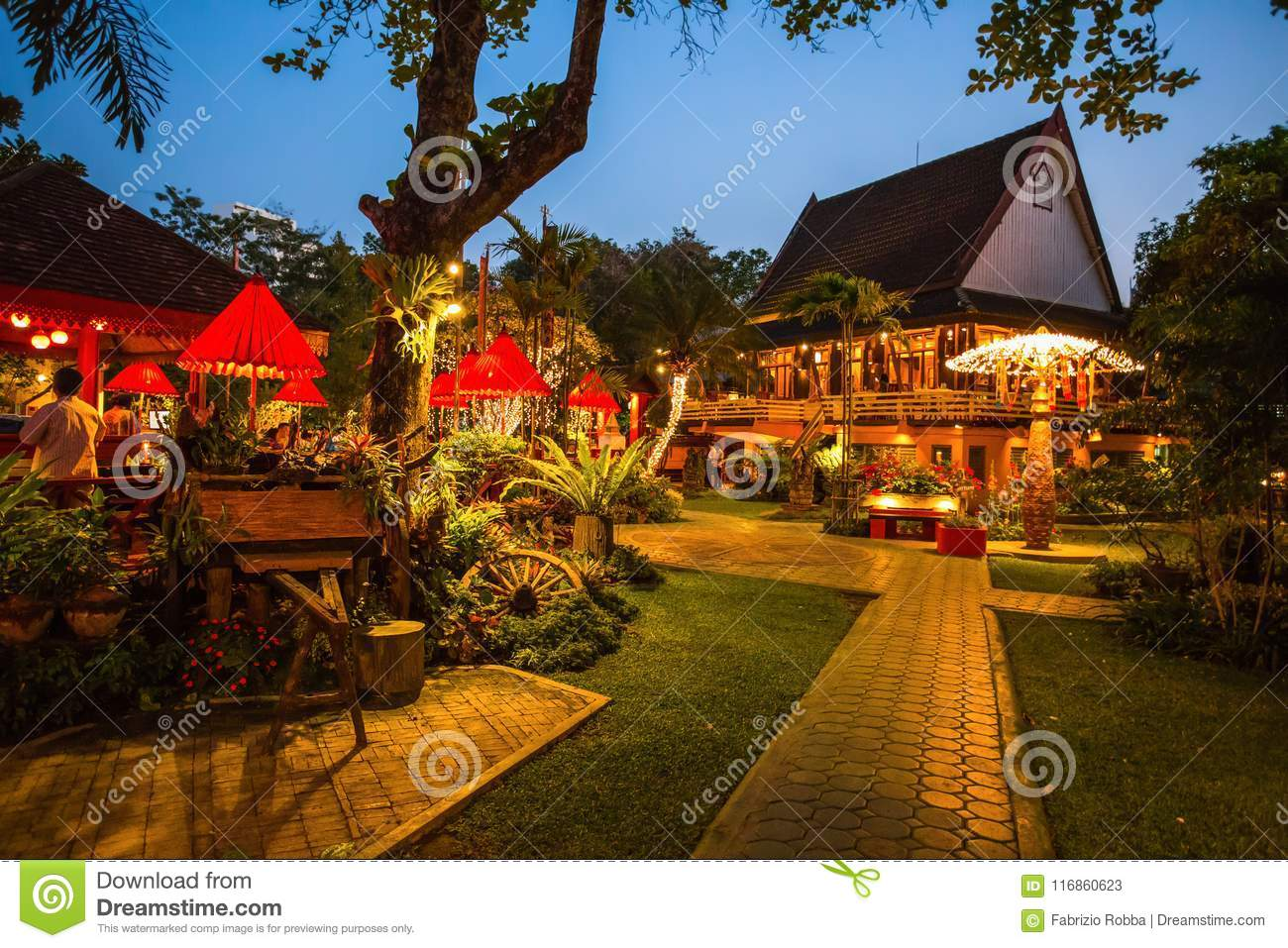 An elegant and typical thai restaurant in Chiang Mai by night, Thailand.