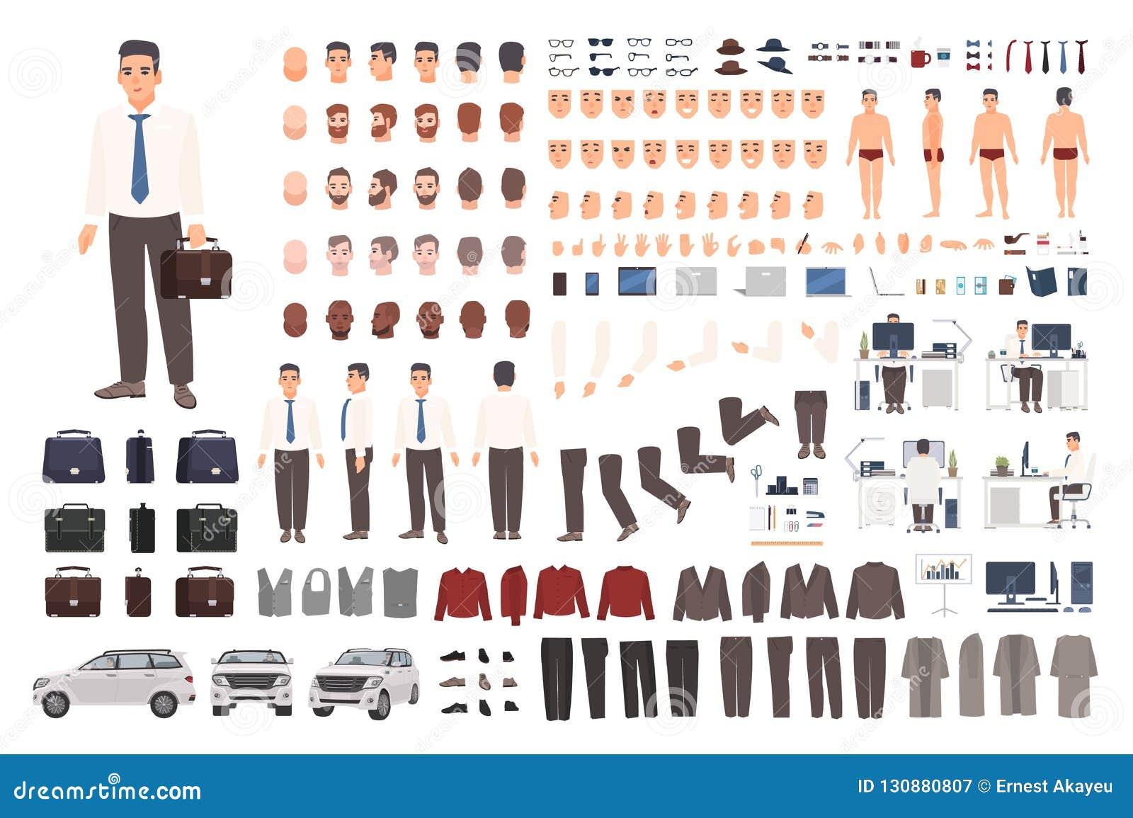 Elegant uppsättning för skapelse för kontorsarbetare eller kontoristeller DIY-sats Samling av kroppsdelar, stilfull affärskläder,